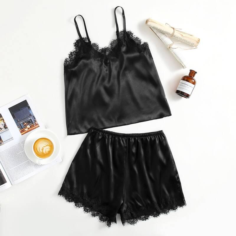 Lace Trim Satin Cami Top & Shorts PJ Set, Black