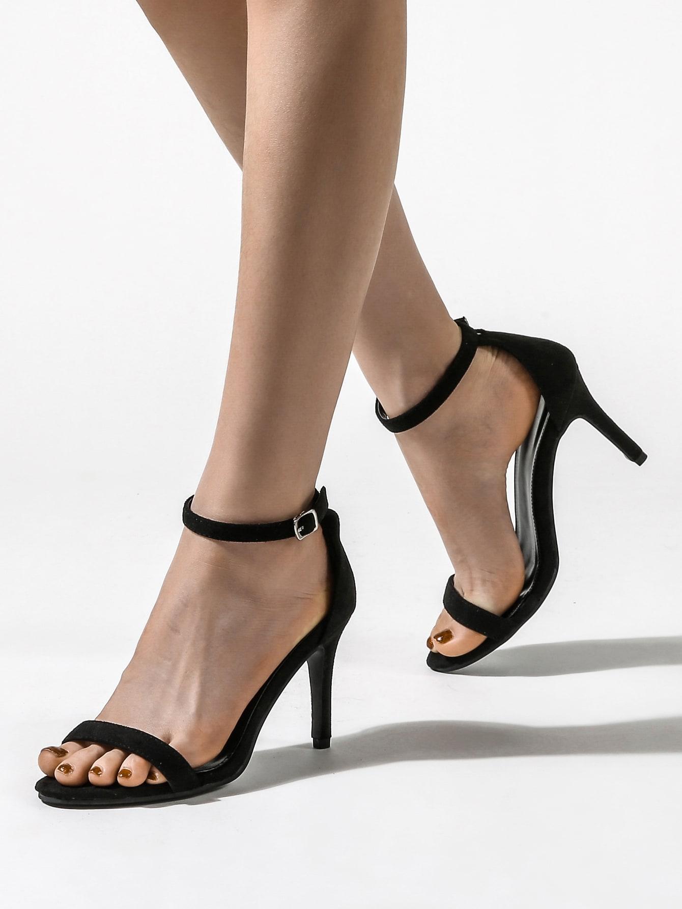 Open Toe Stiletto Heeled Ankle Strap Sandals thumbnail