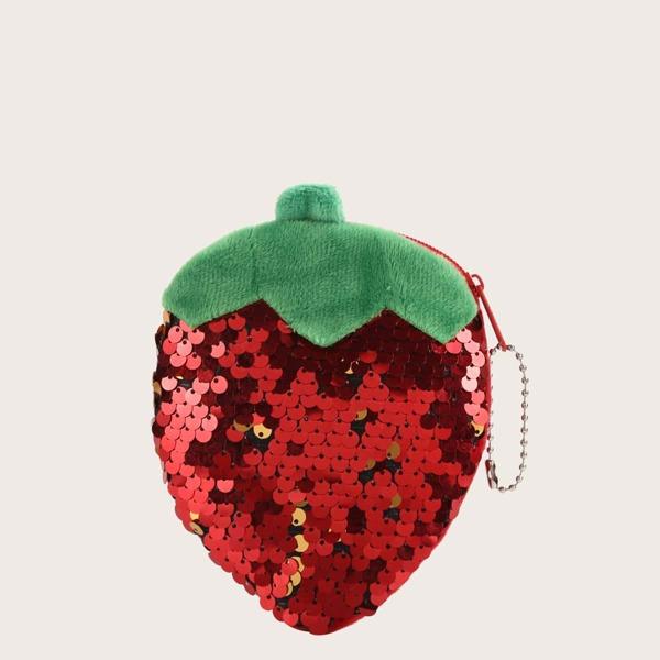 Girls Sequins Decor Fruit Shaped Wallet, Red