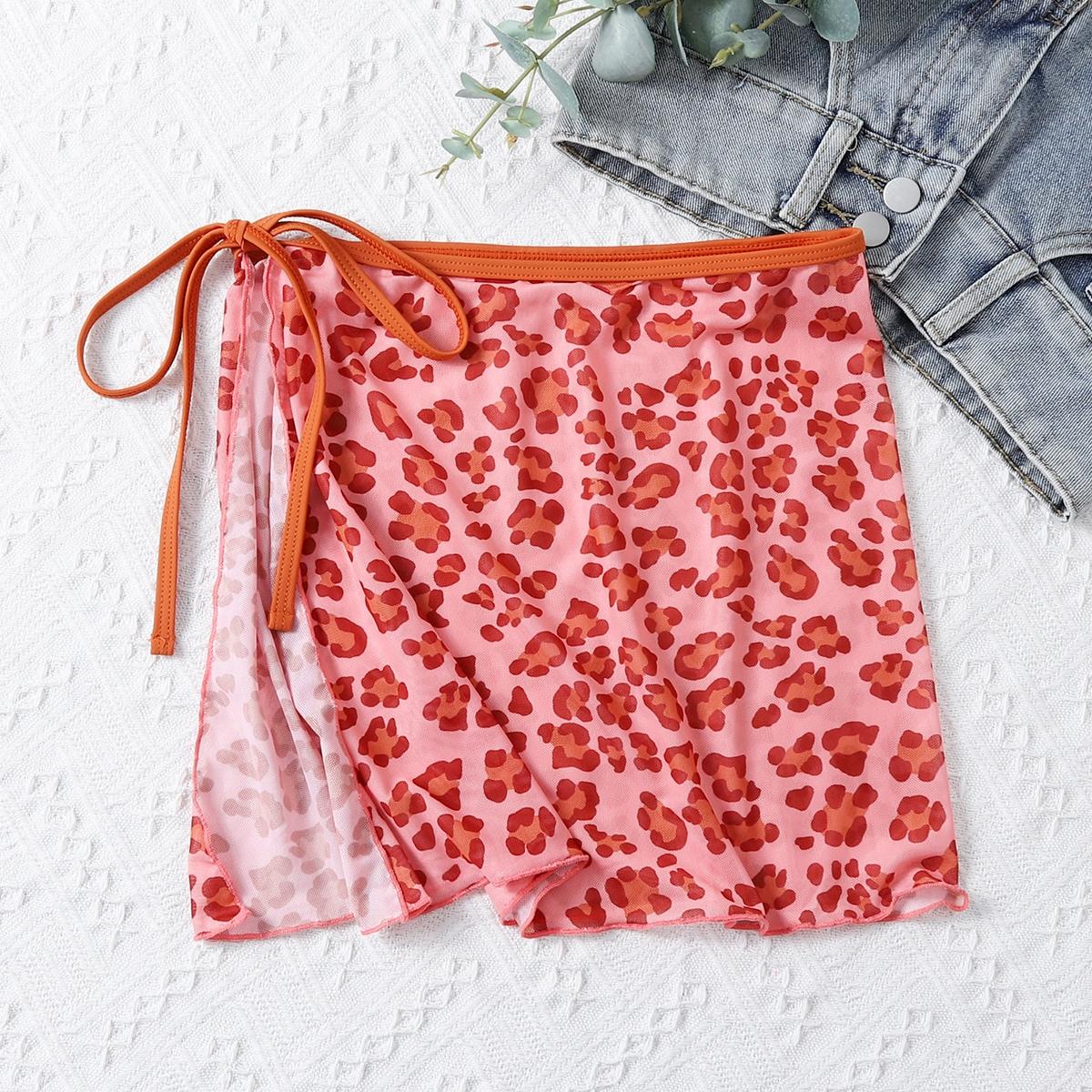 Пляжная юбка с леопардовым принтом