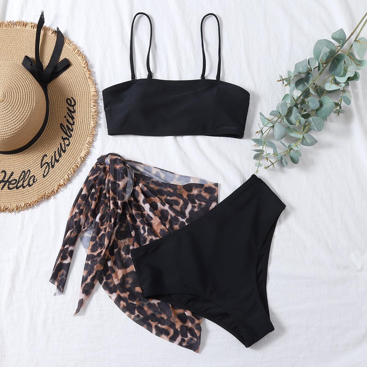 SHEIN / 3pack Solid Bikini Swimsuit & Leopard Beach Skirt