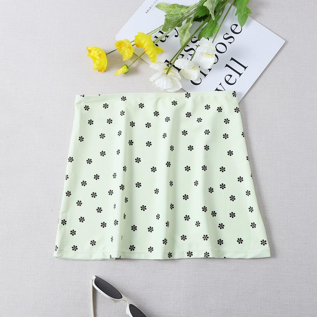 Пляжная юбка с цветочным принтом