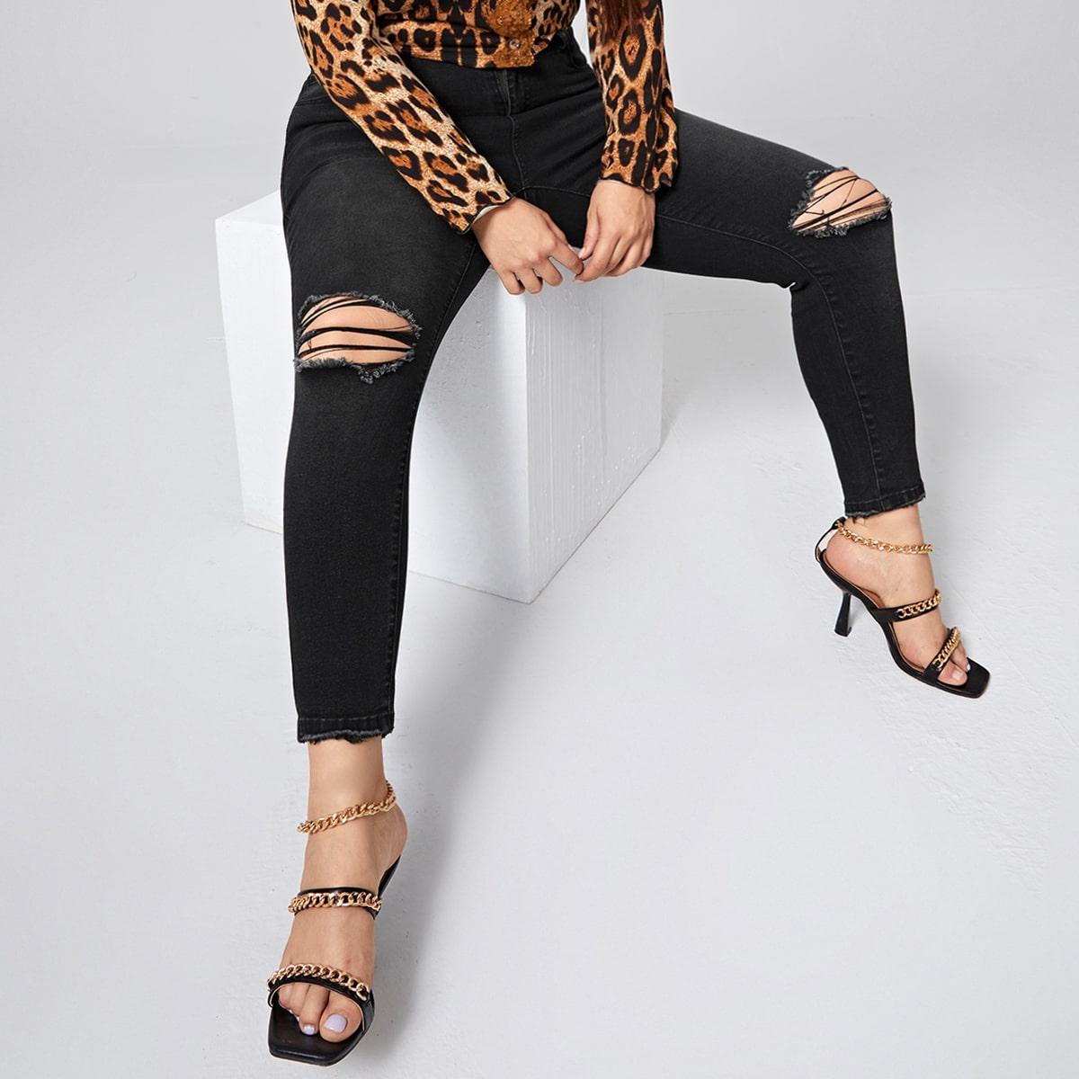Рваные джинсы скинни размера плюс с высокой талией