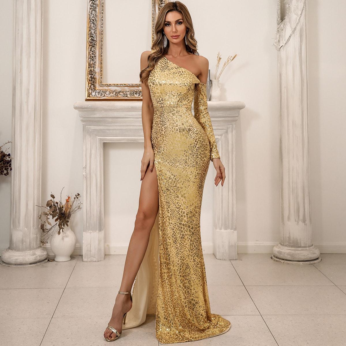 Платье выпускного вечера с асимметричным воротником и блестками от SHEIN
