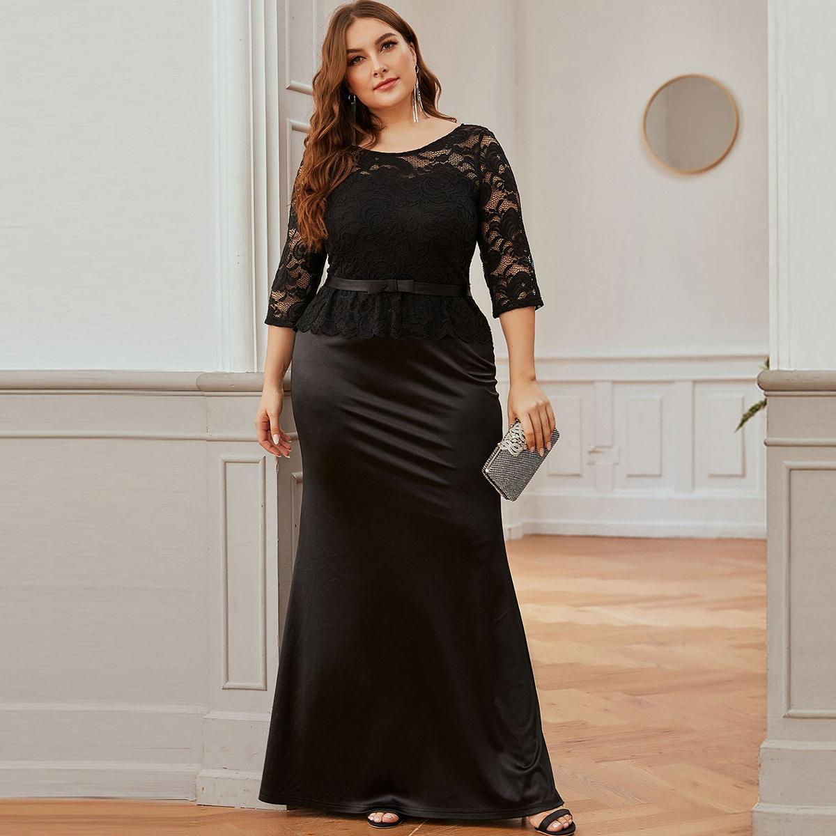 Атласное платье выпускного вечера размера плюс с кружевной отделкой от SHEIN