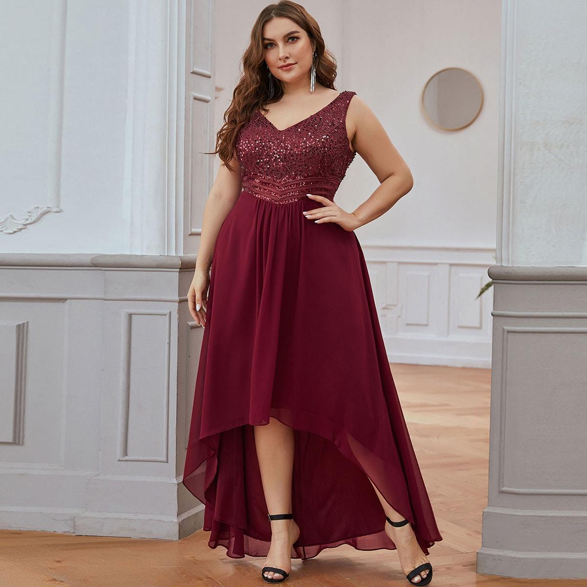 Асимметричное платье выпускного вечера размера плюс с v-образным воротником от SHEIN