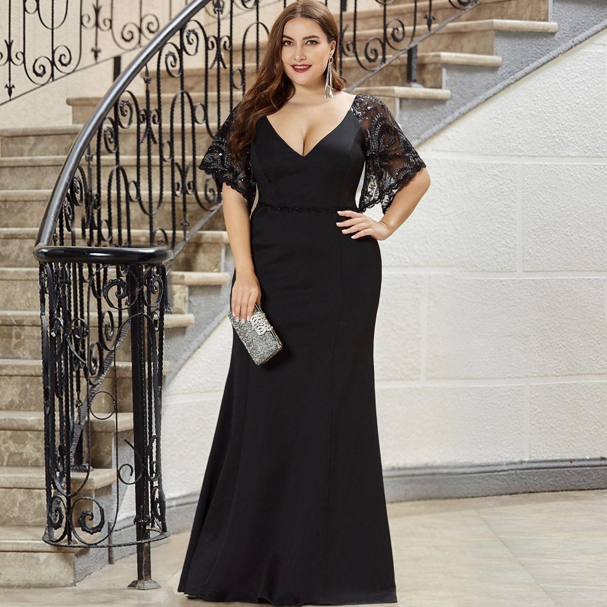 Платье-русалка выпускного вечера размера плюс с сетчатым рукавом от SHEIN