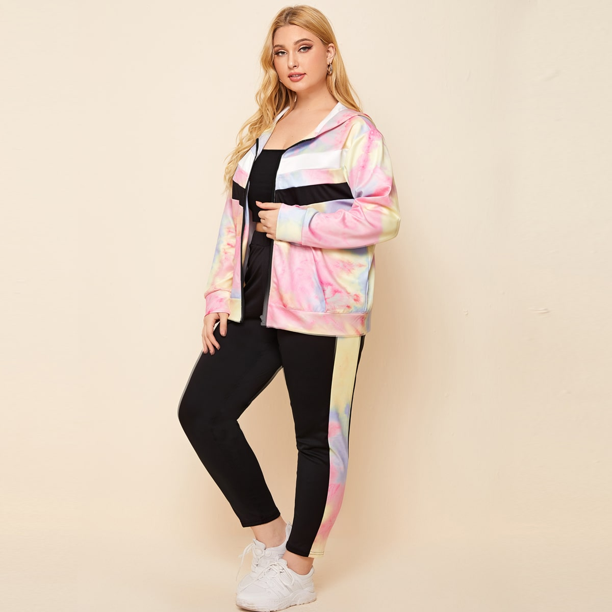 Plus Tie Dye Zip Up Hoodie & Colorblock Leggings