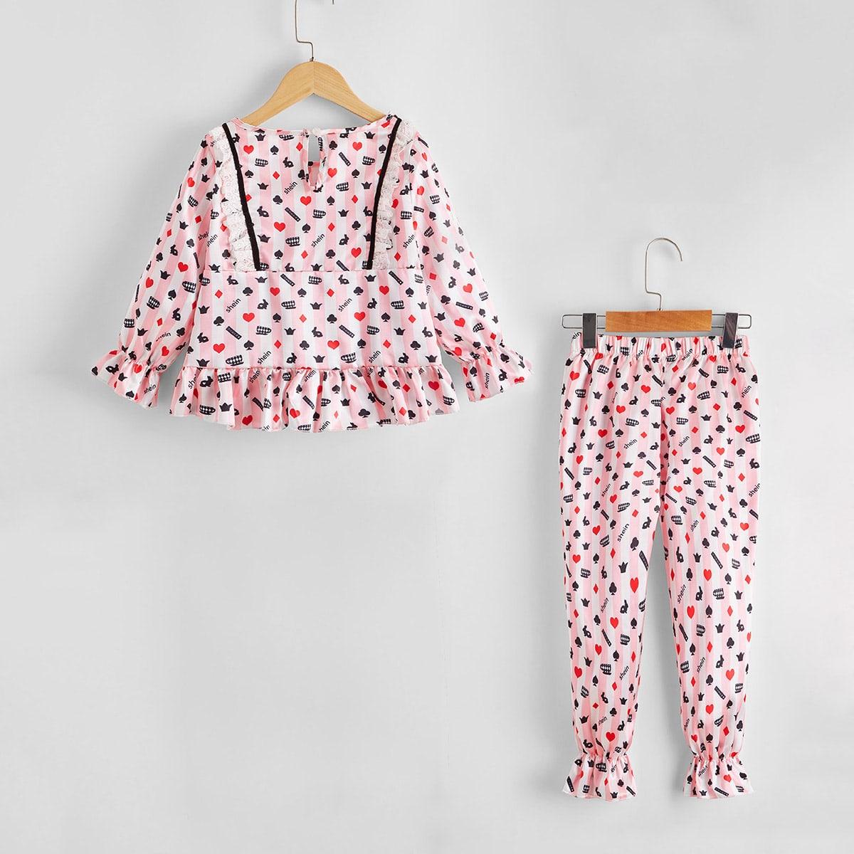 Атласная пижама с принтом и кружевной отделкой для девочек