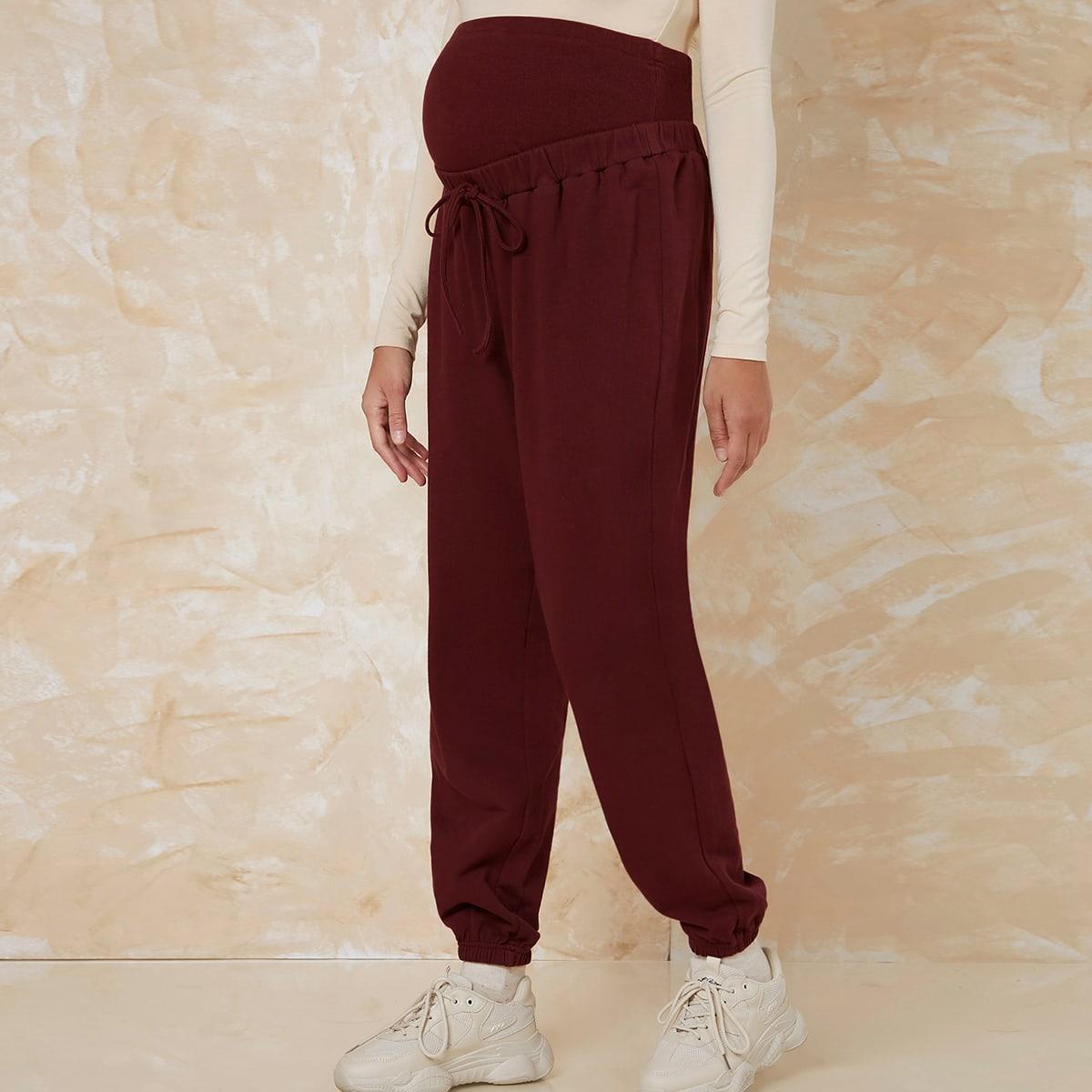 Простые спортивные штаны для беременных с завязками на талии