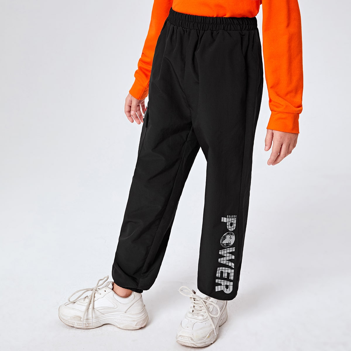 Boys Letter Graphic Wind Pants