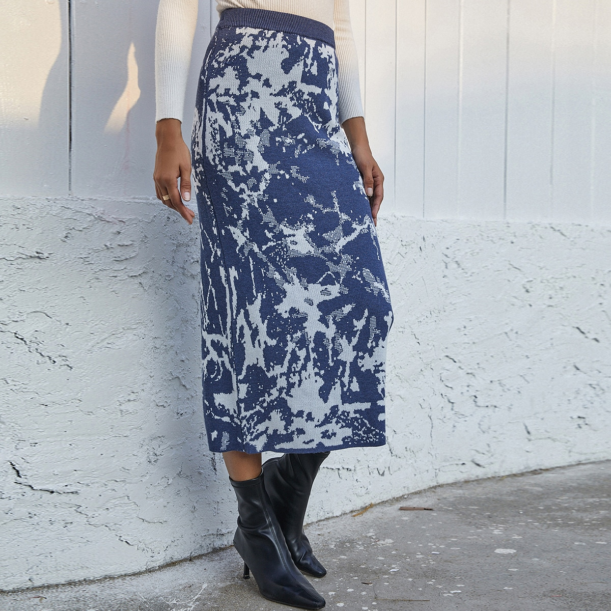Вязаная юбка с графическим узором