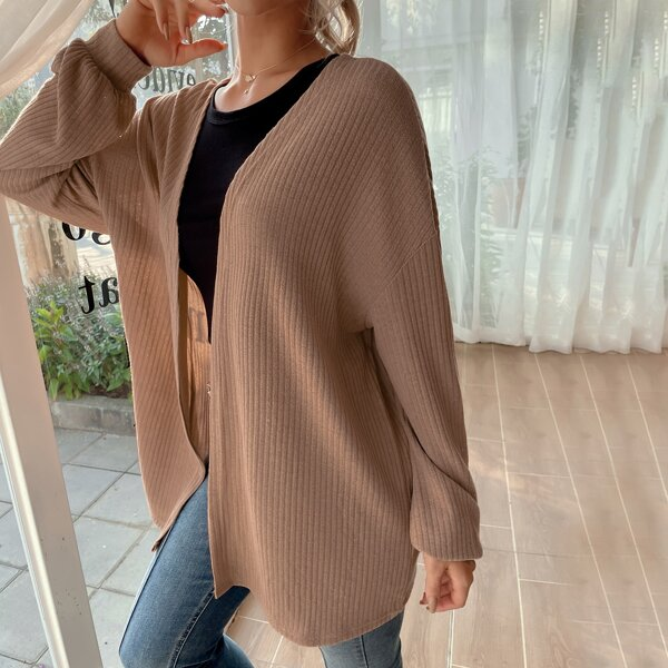 Solid Open Front Ribbed Coat, Apricot