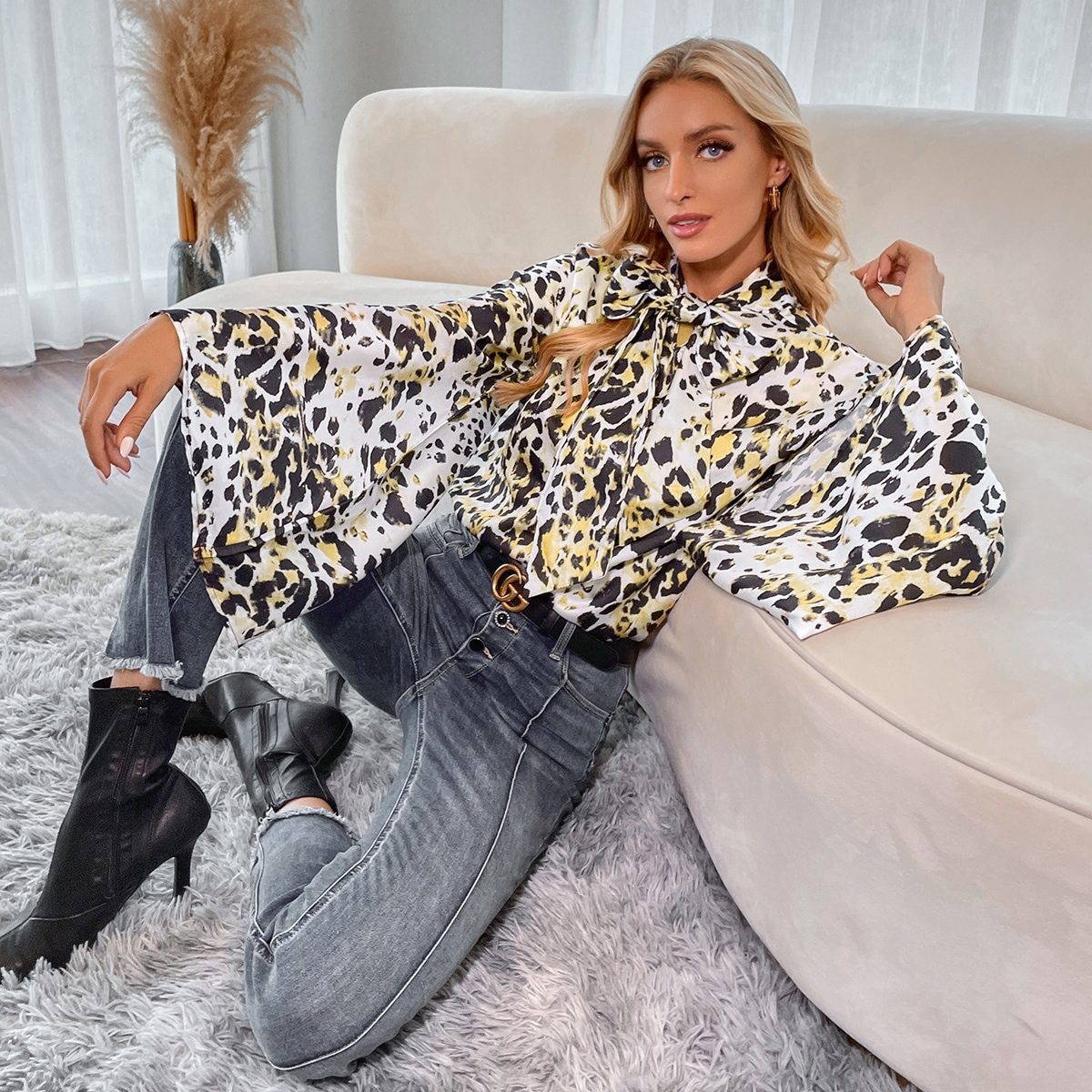 All Over Print Tie Neck Bell Sleeve Blouse