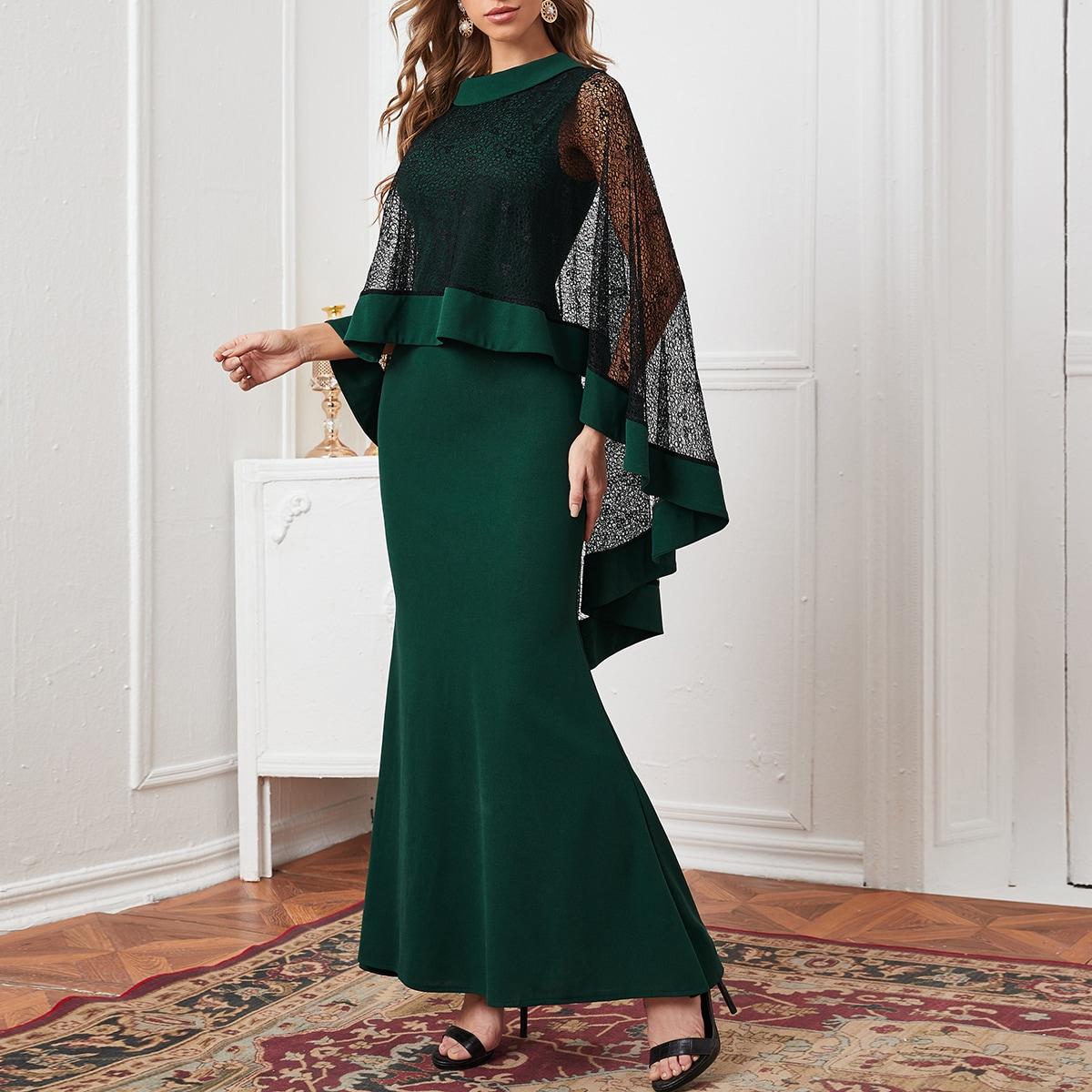 Кружевное платье-кейп