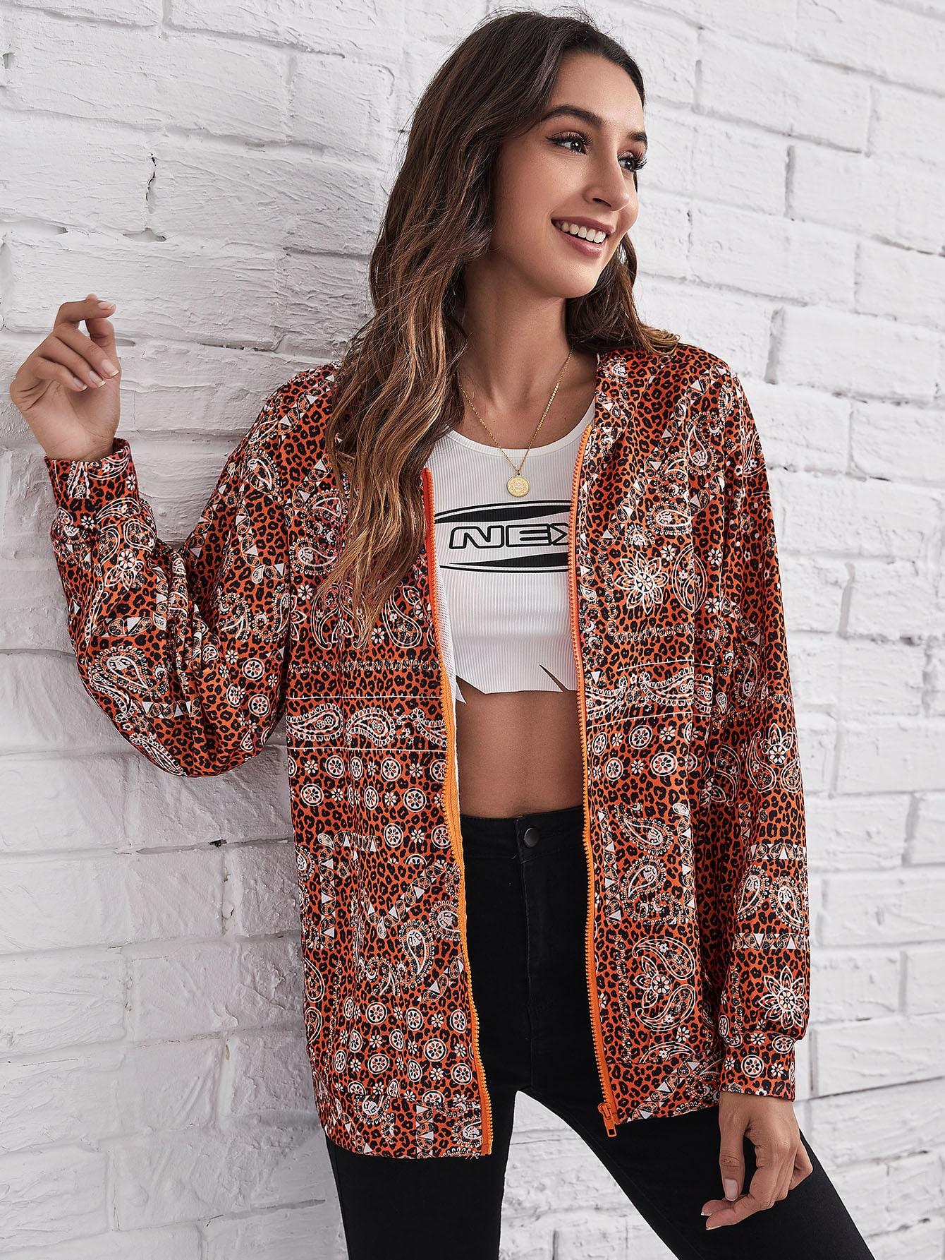 Paisley & Leopard Print Zipper Up Hooded Jacket thumbnail