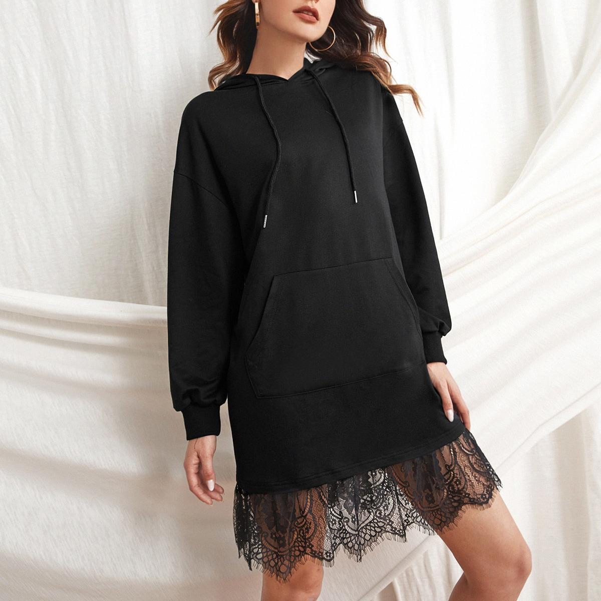 Lace Hem Kangaroo Pocket Sweatshirt Dress