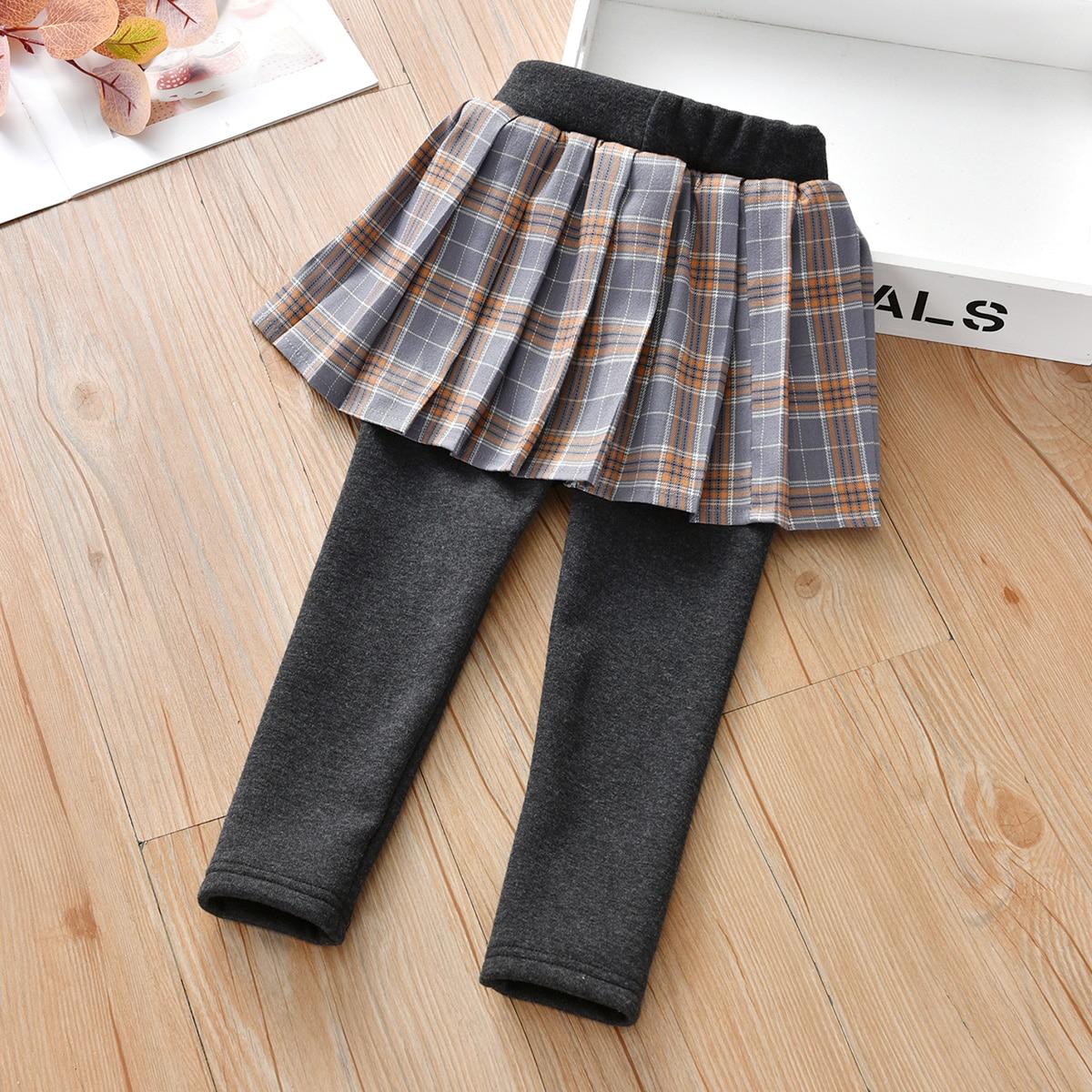 Контрастные брюки в клетку для девочек