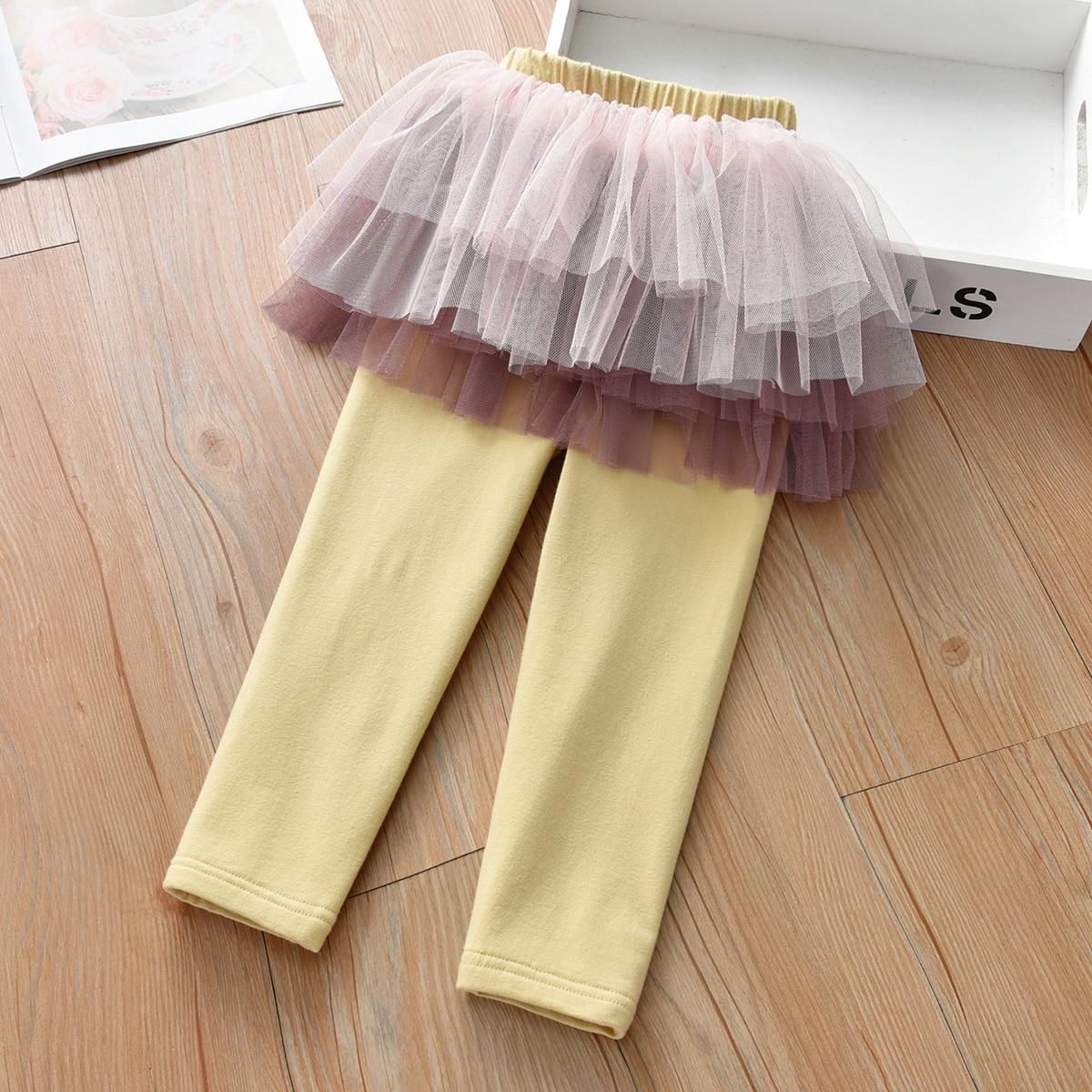 2 в 1 брюки с сетчатой вставкой для девочек