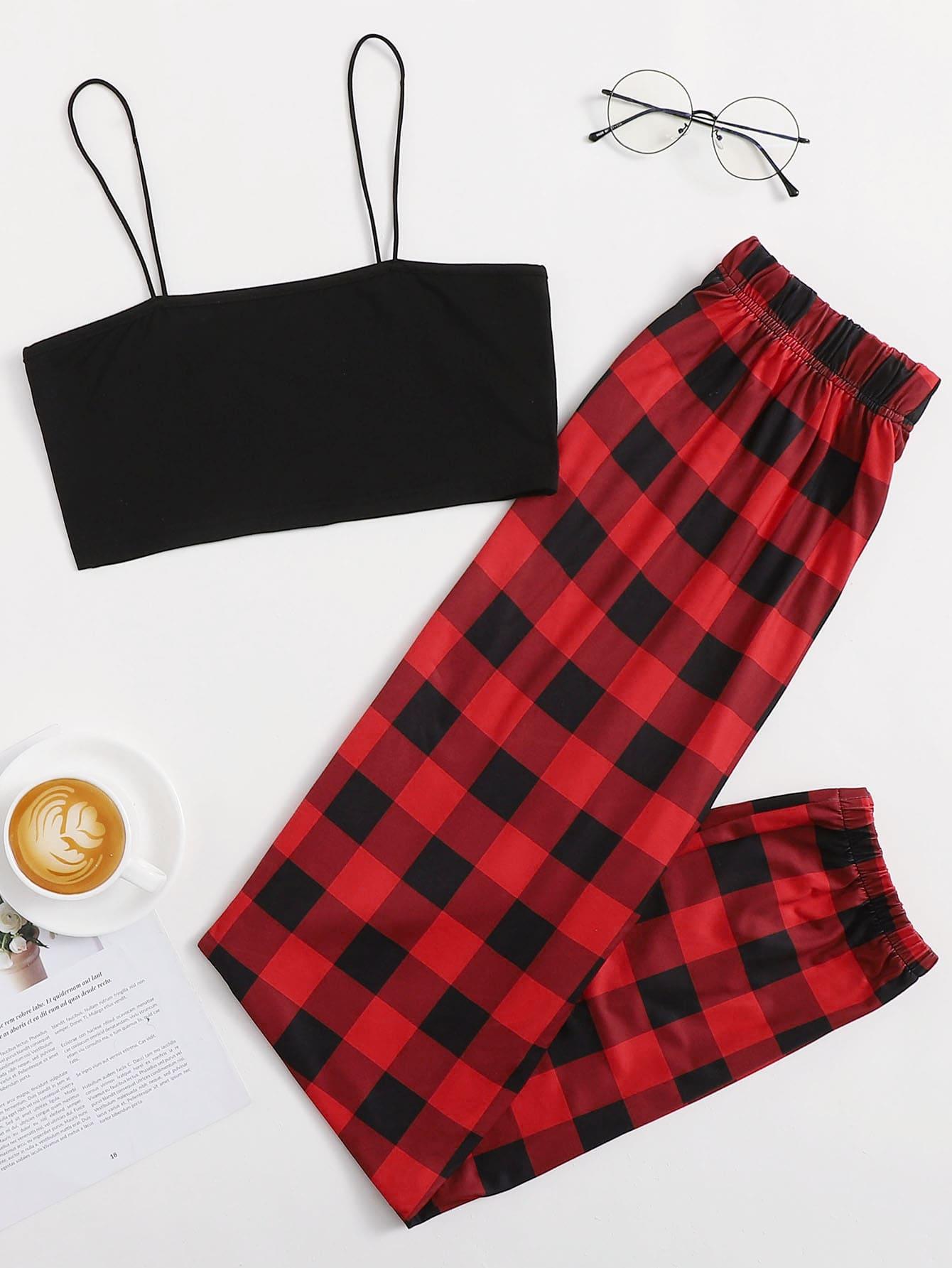 Cami Top With Gingham Pants Pajama Set thumbnail