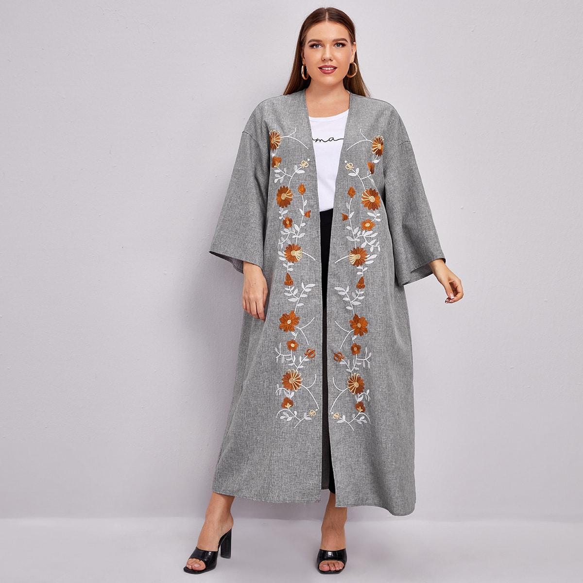 Кимоно размера плюс с цветочной вышивкой
