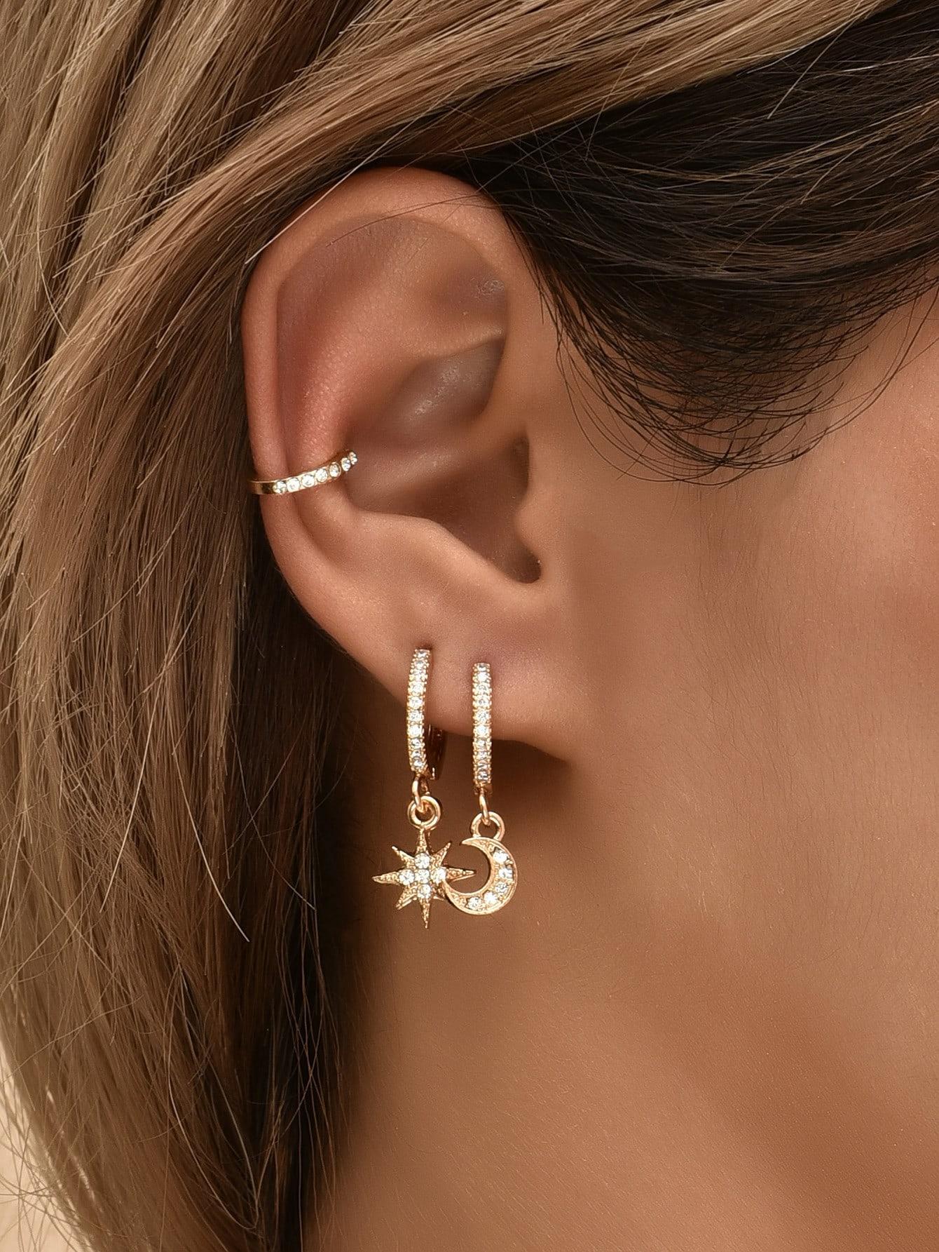 3pcs Rhinestone Decor Moon Charm Earring thumbnail