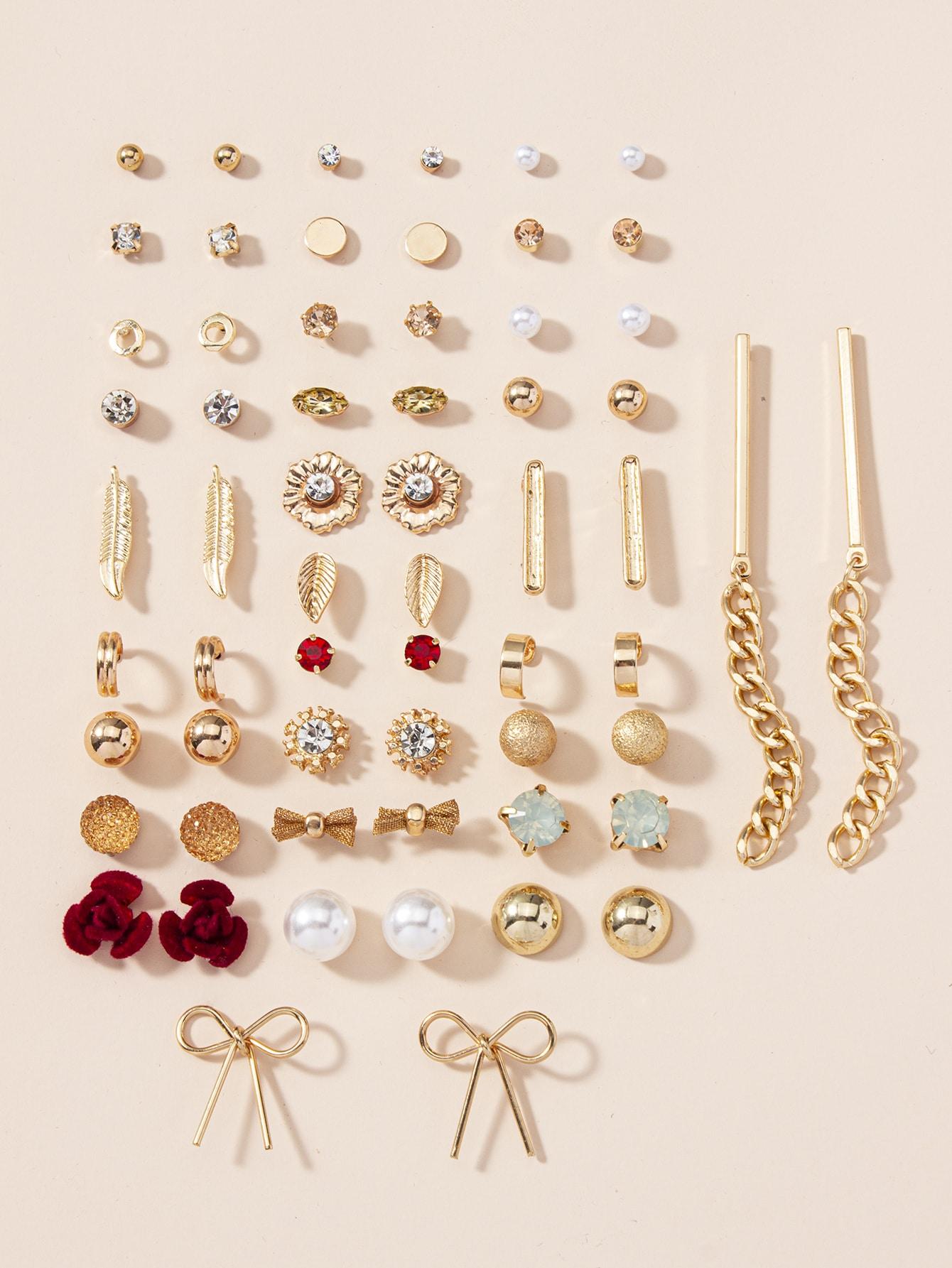 30pairs Rhinestone & Faux Pearl Decor Earrings thumbnail