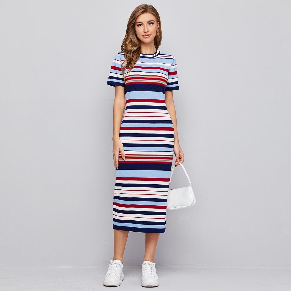 Платье-свитер в полоску