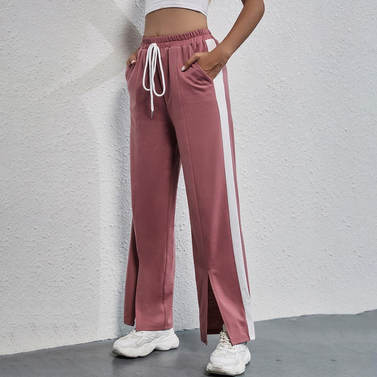 Спортивные брюки с узлом и разрезом