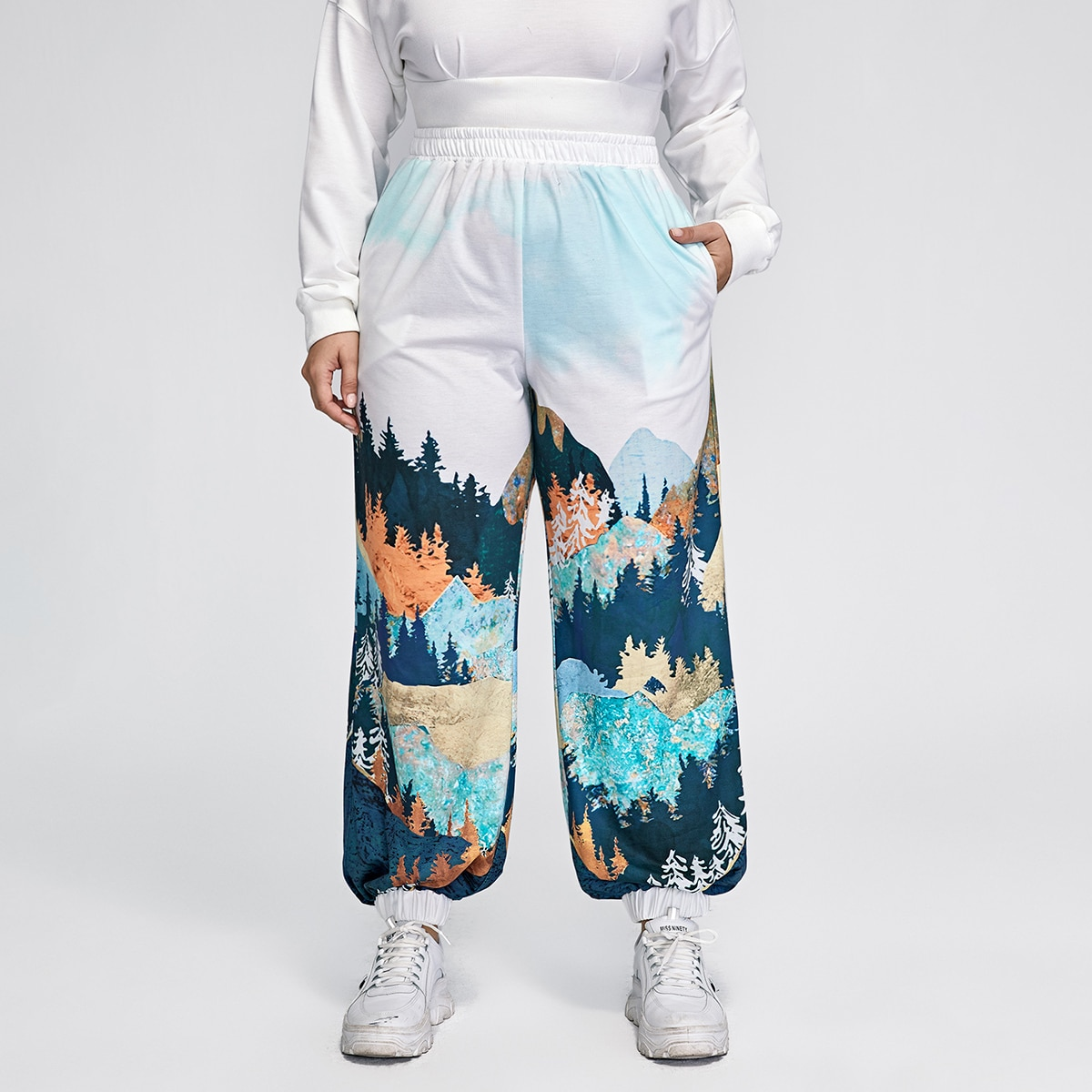 Plus Landscape Print Sweatpants, SHEIN  - buy with discount