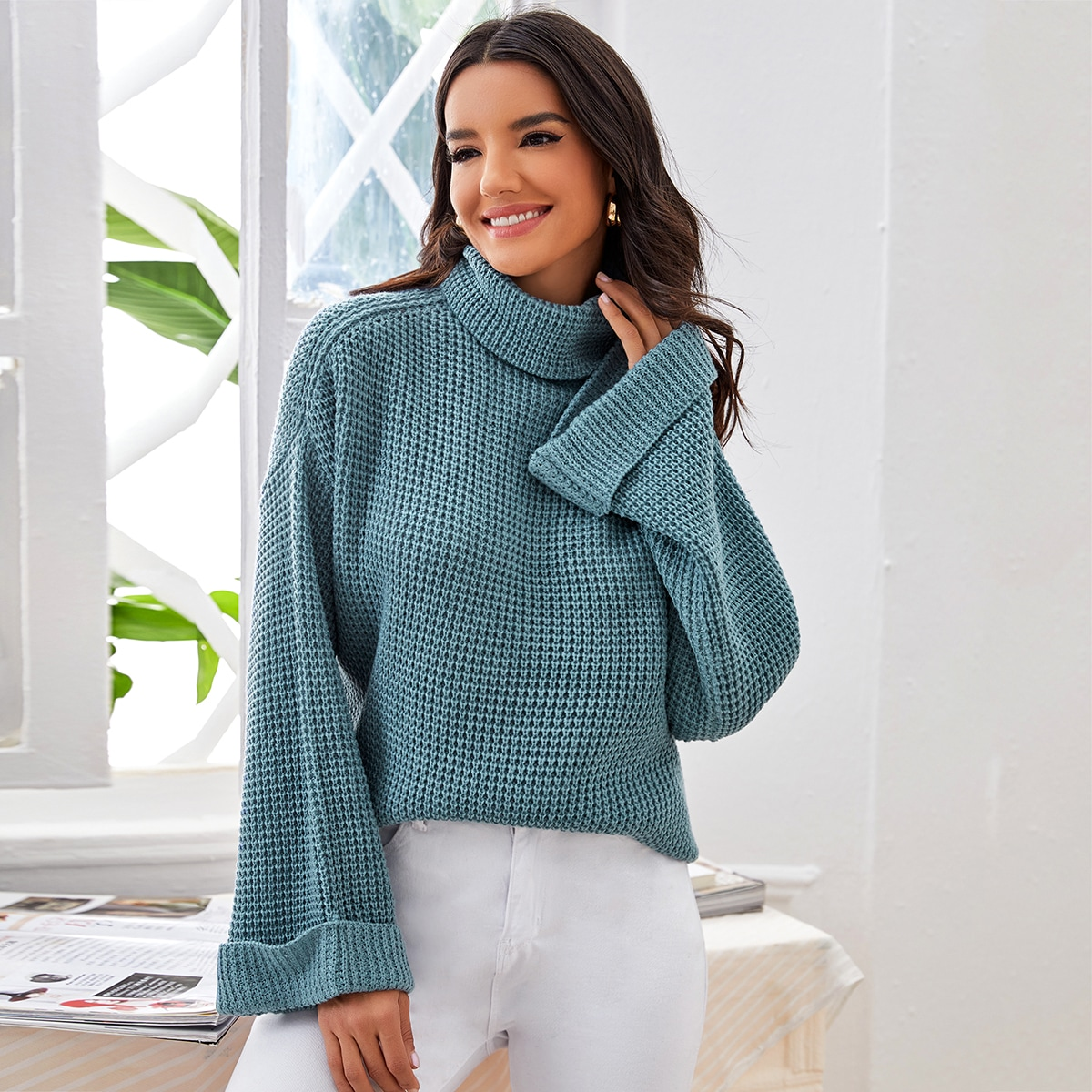 Waffle Knit High Neck Solid Sweater