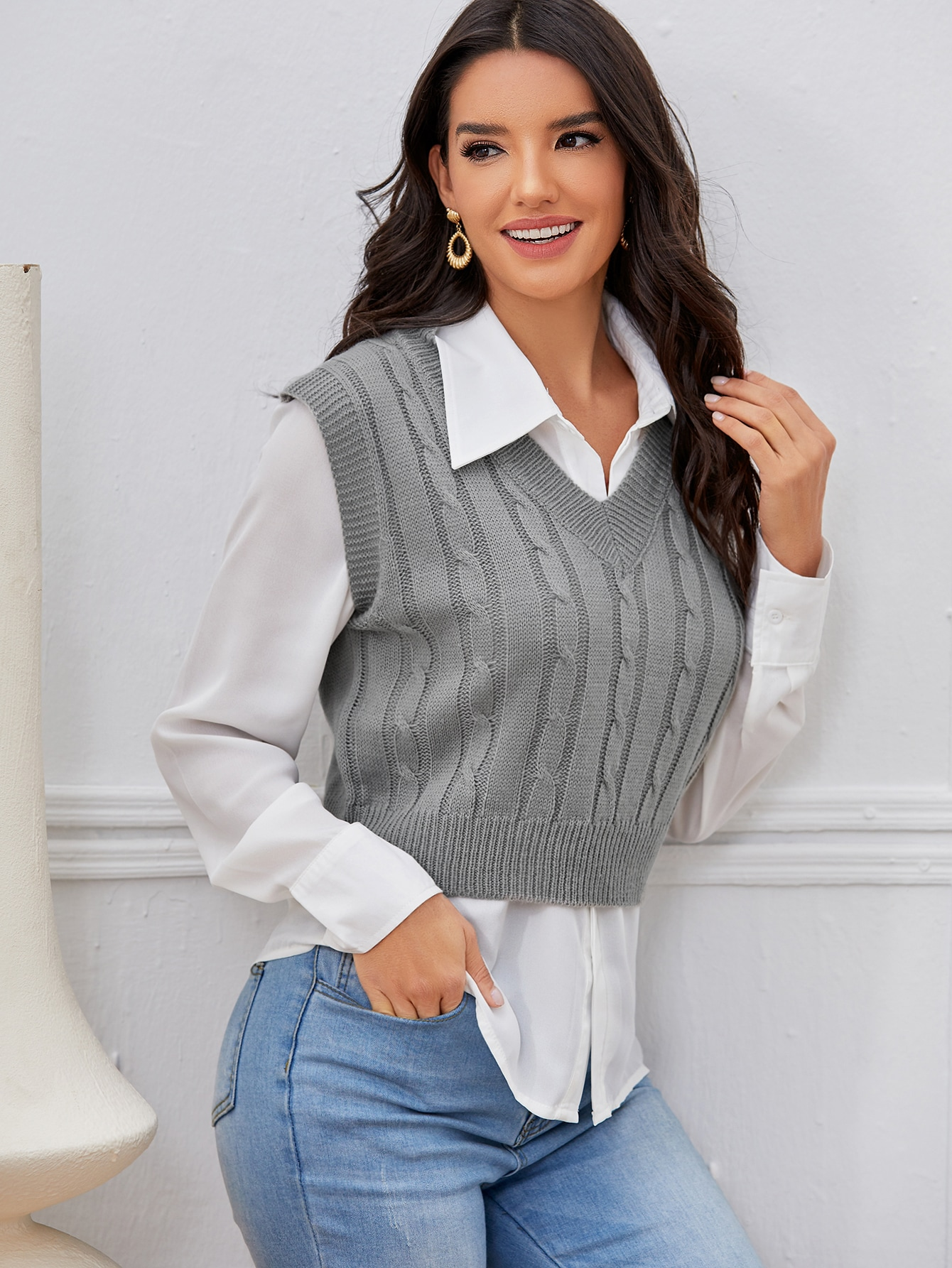 Cable Knit Sweater Vest Without Blouse thumbnail