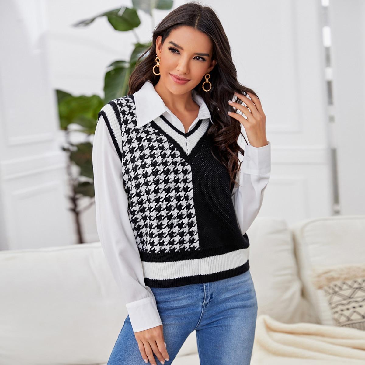 Striped Houndstooth Pattern Sweater Vest