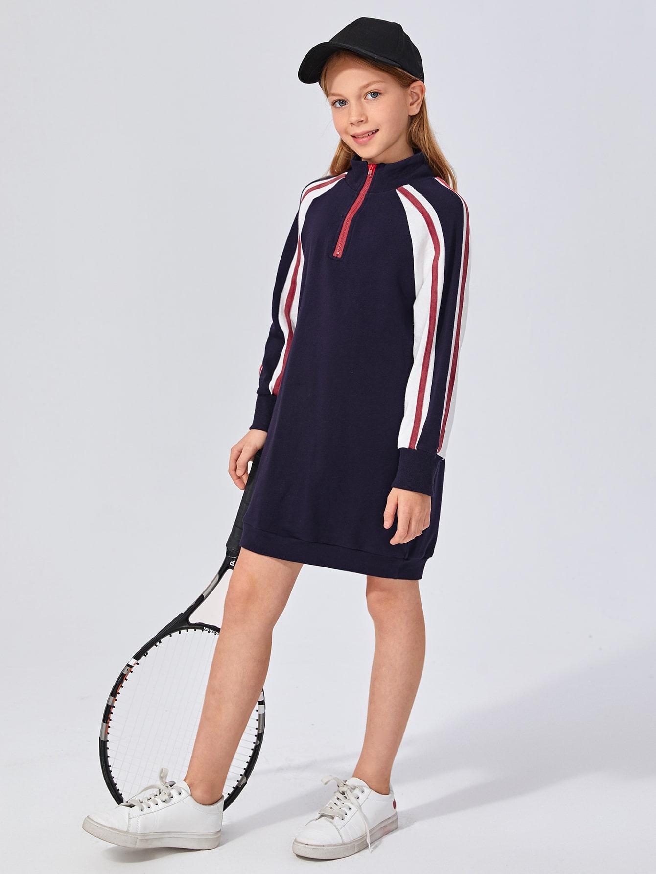 girls side stripe zip half placket sweatshirt dress