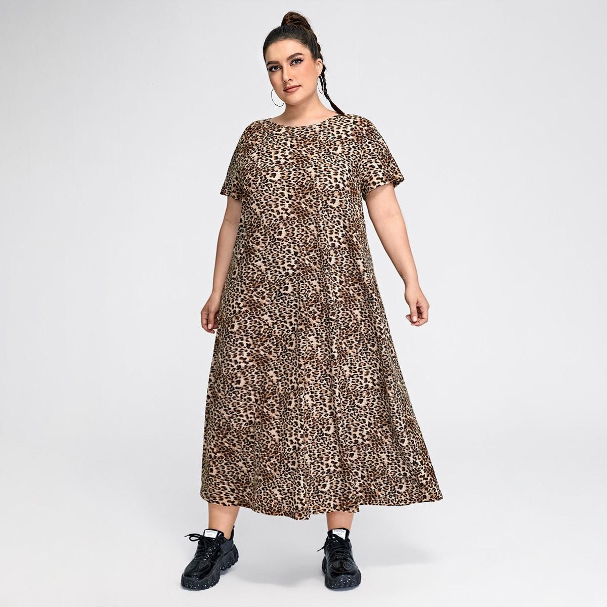 Платье размера плюс с леопардовым принтом