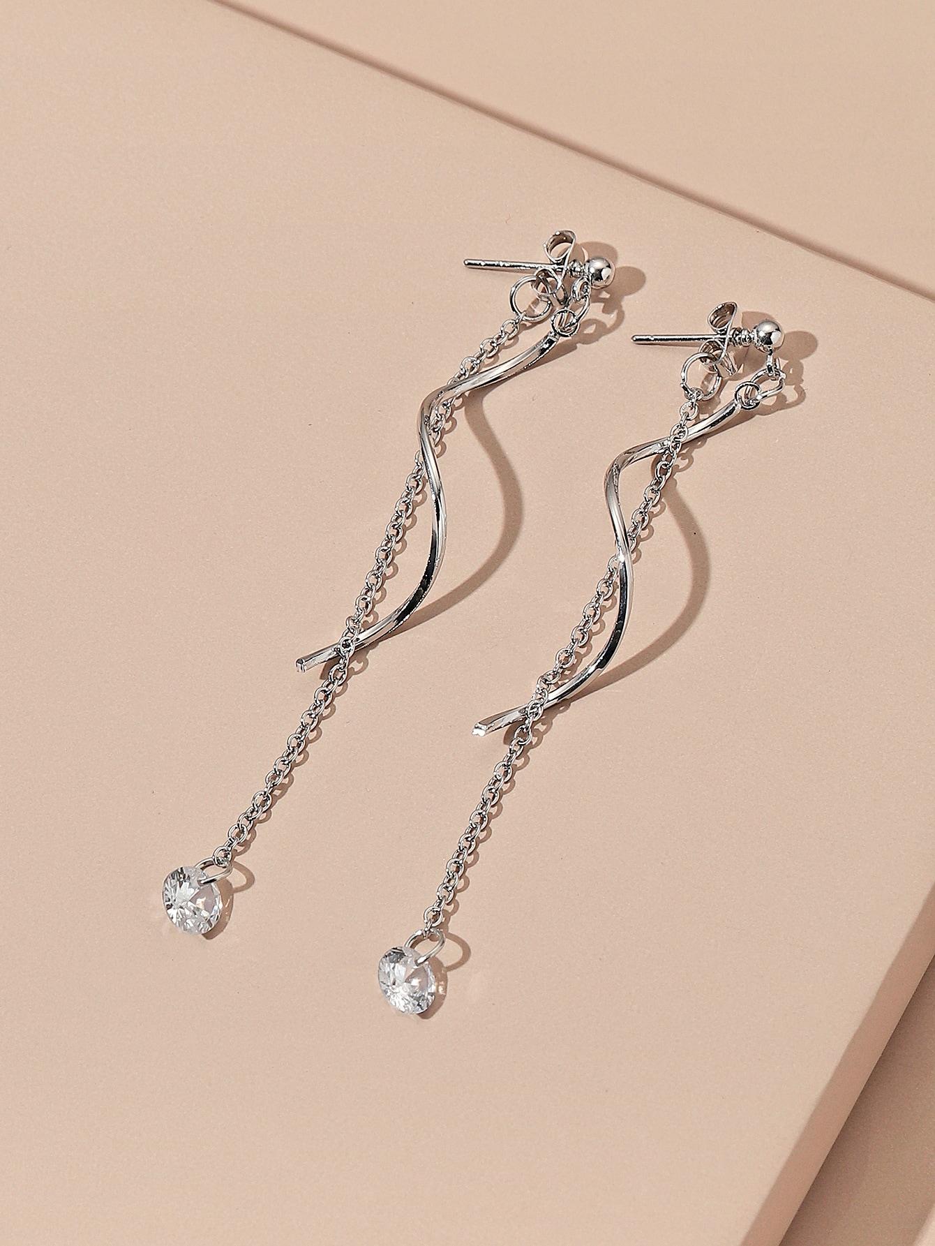Rhinestone Long Chain Drop Earrings thumbnail