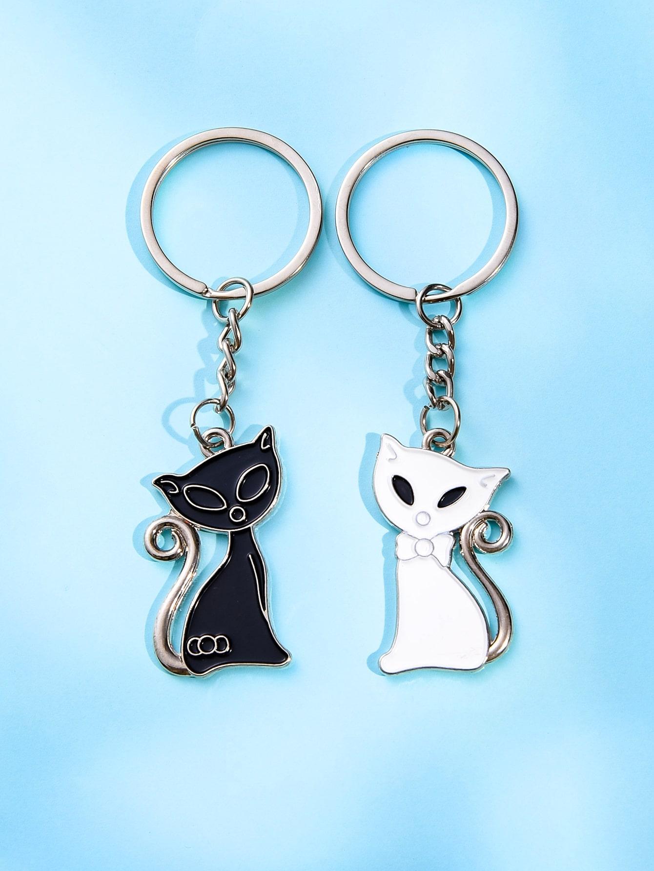 2pcs Cat Charm Keychain thumbnail