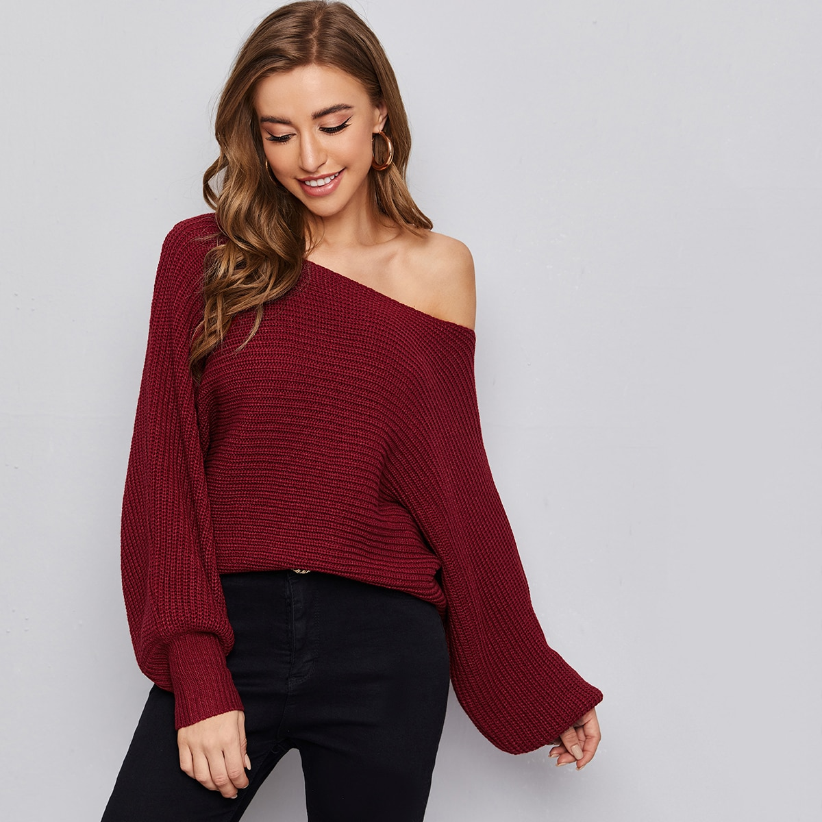 Lantern Sleeve Solid Sweater