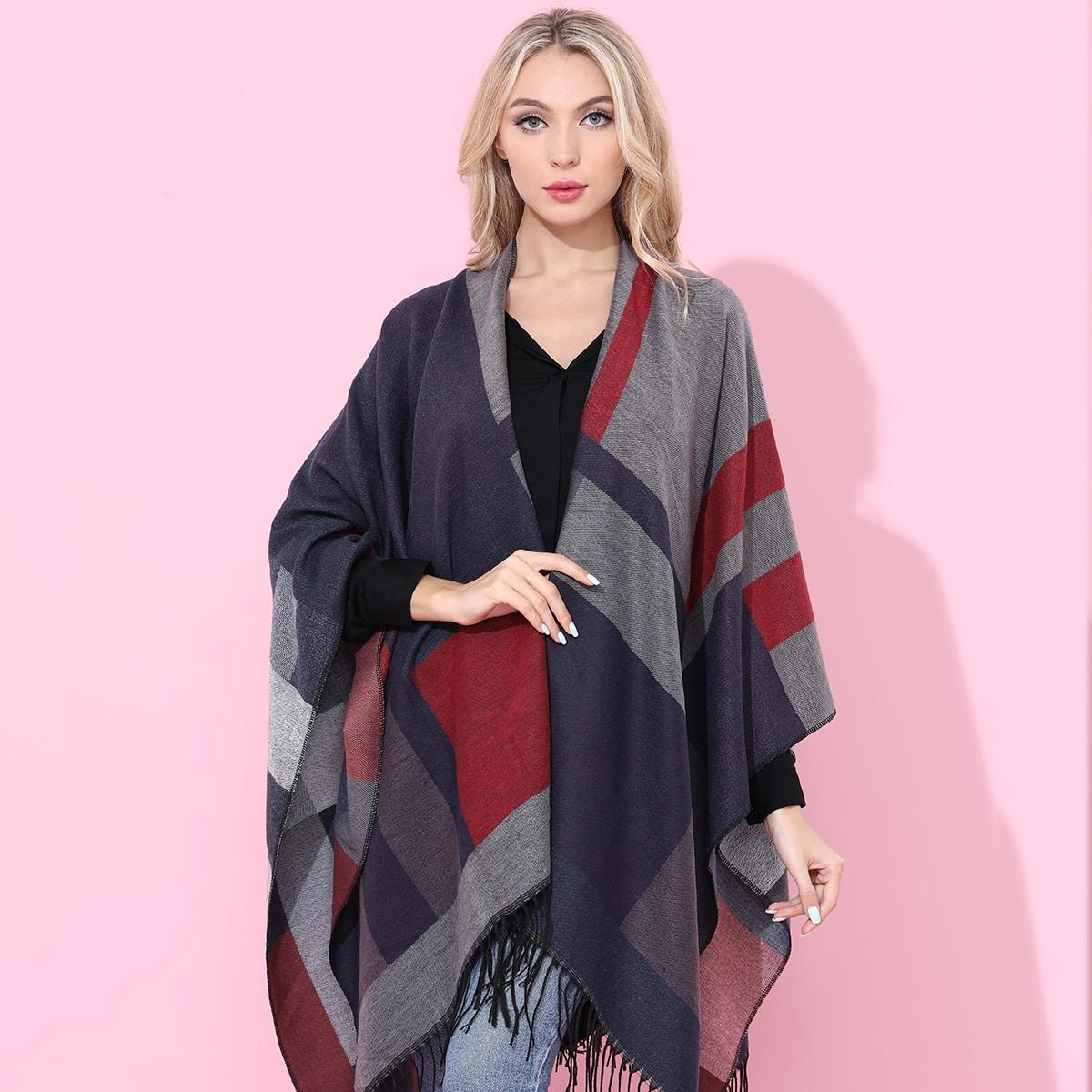 Контрастный шарф-шаль