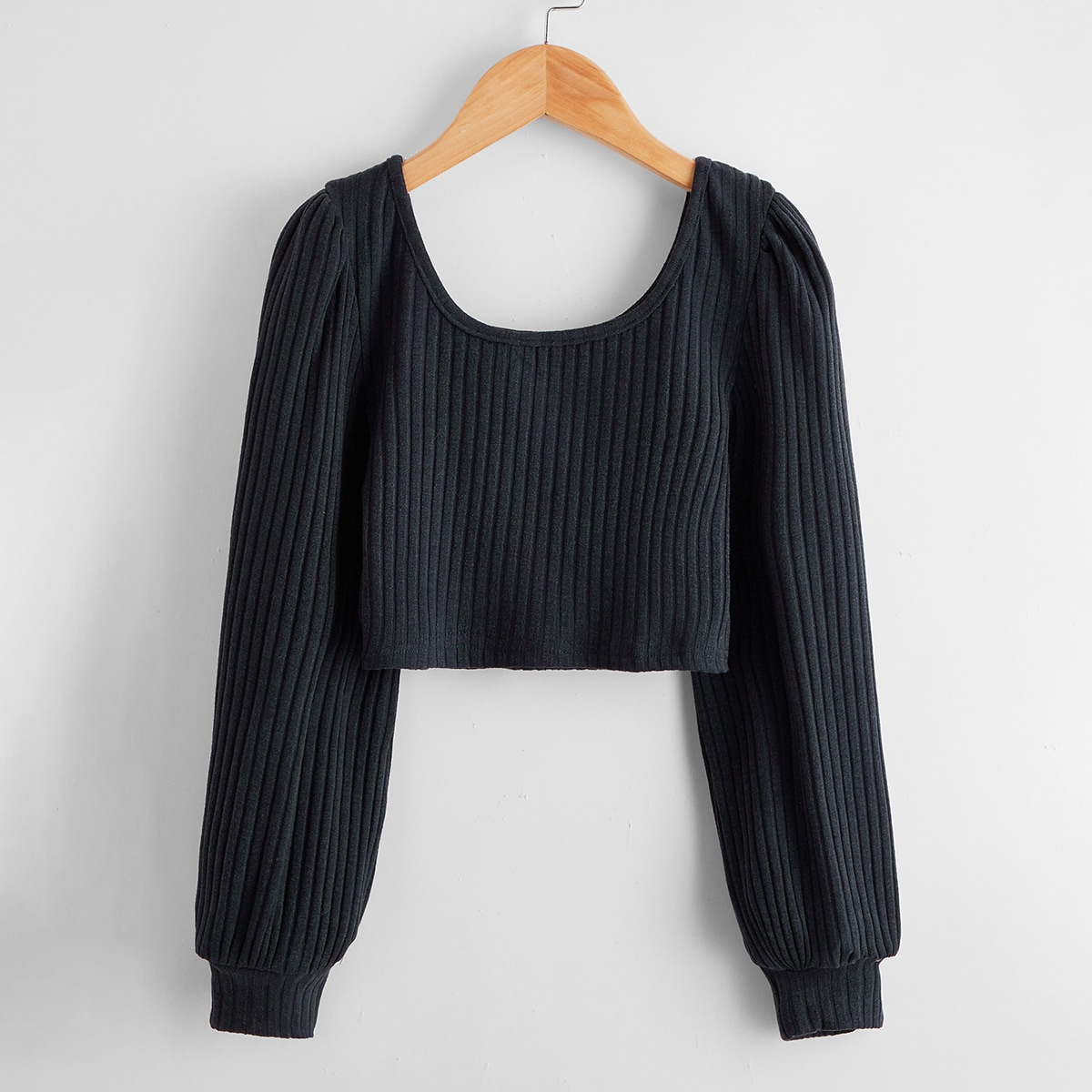 Girls Scoop Neck Rib-knit Crop Tee, SHEIN  - buy with discount