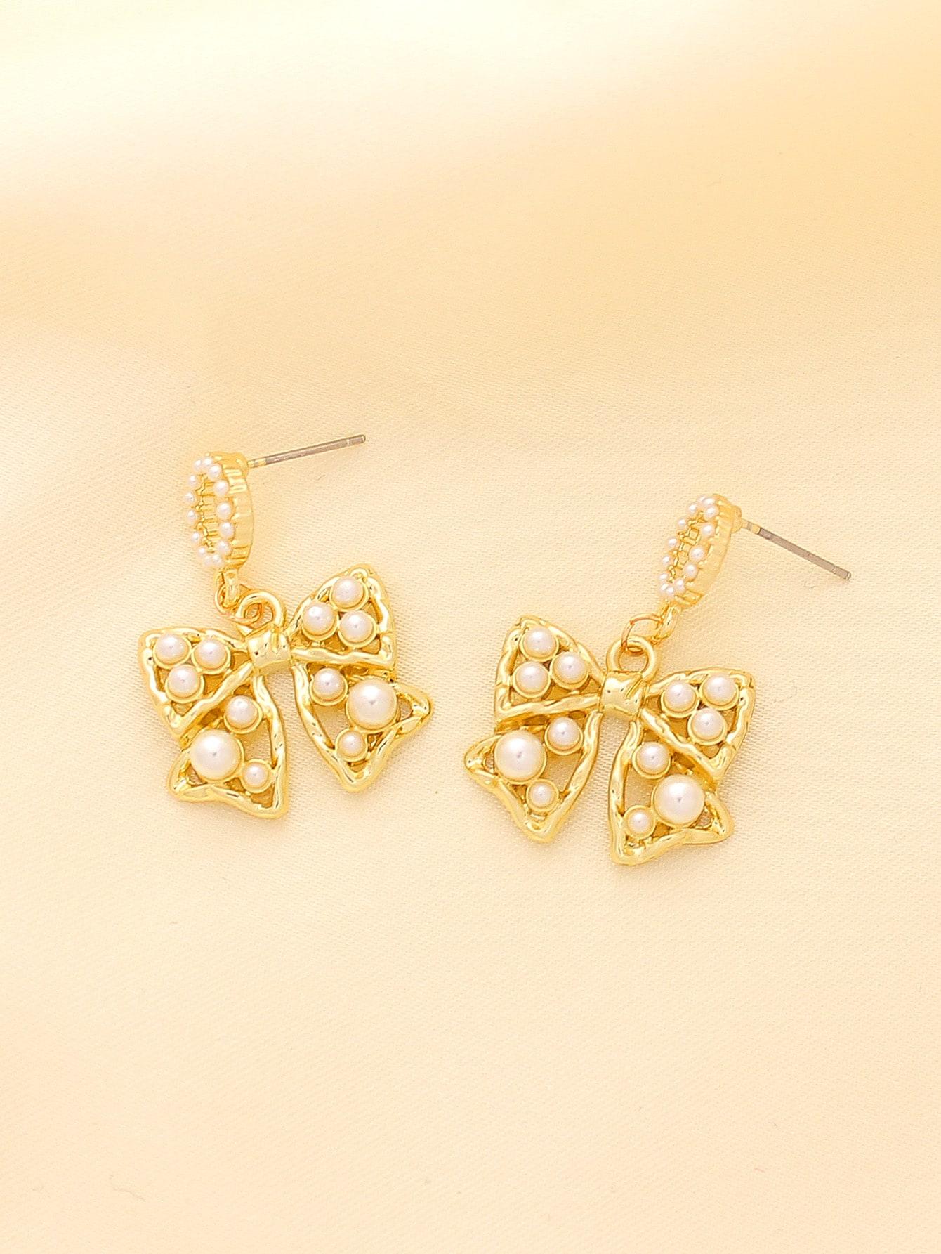 Faux Pearl Decor Bow Charm Drop Earrings thumbnail