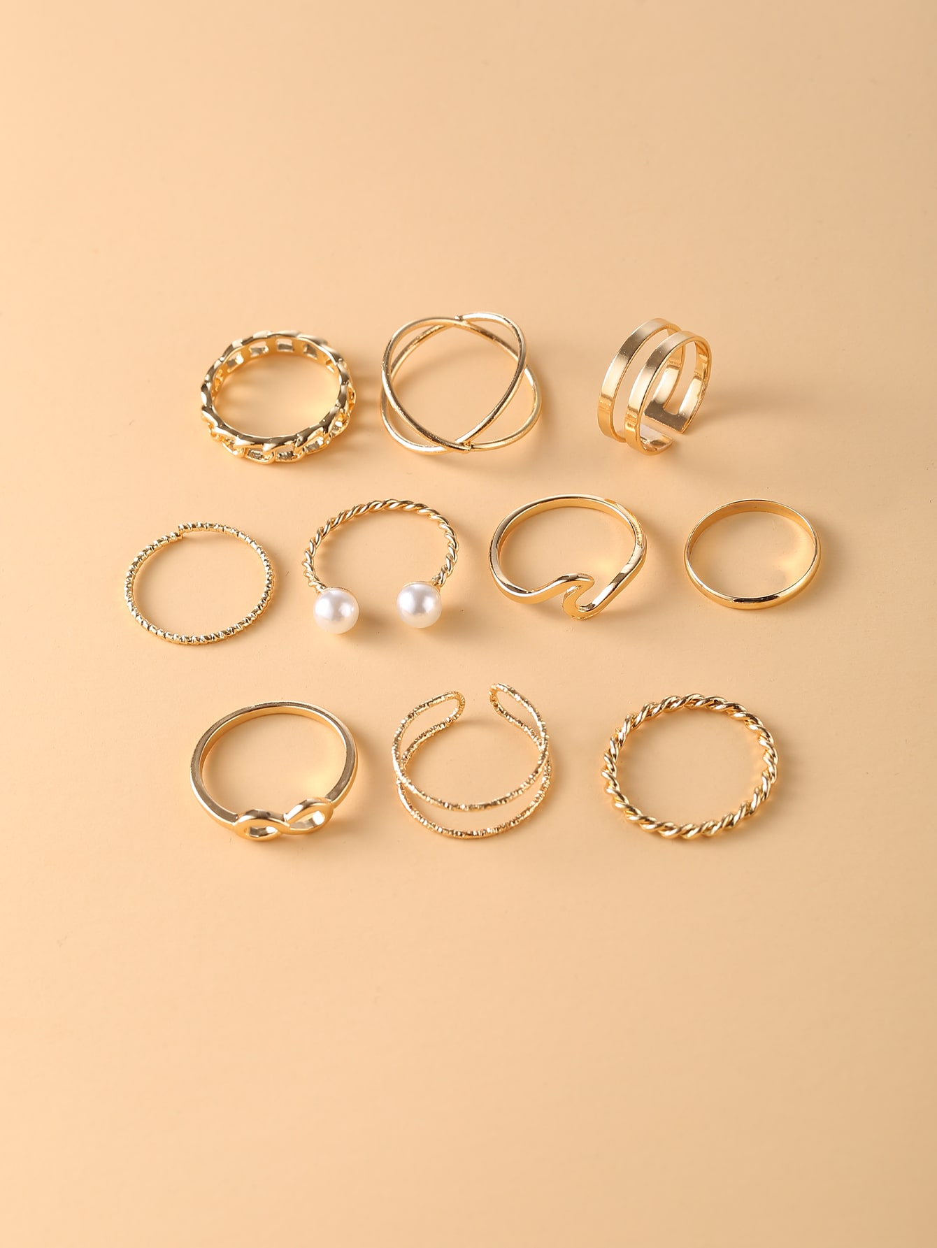 10шт кольцо с искусственными жемчугамиswring18201203414