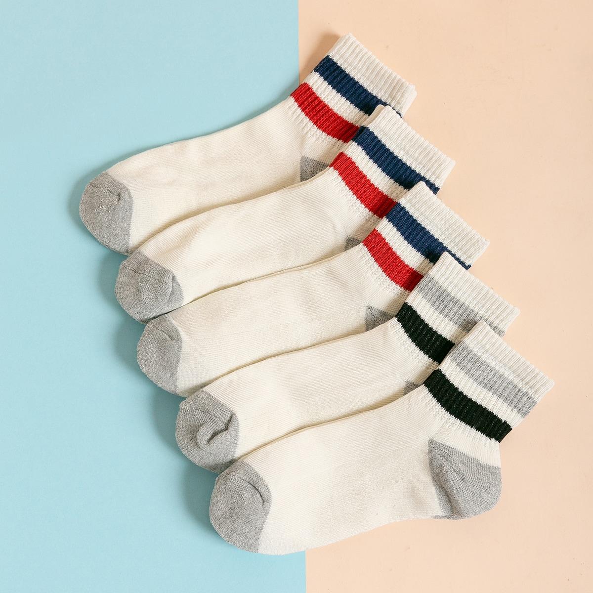 5 пар носки с полосатым узором