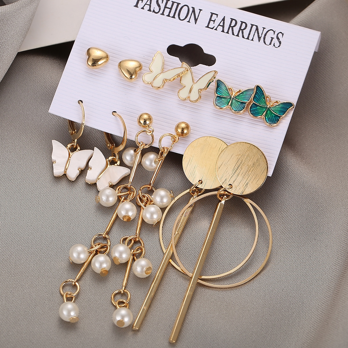 6pairs Faux Pearl & Butterfly Decor Earrings