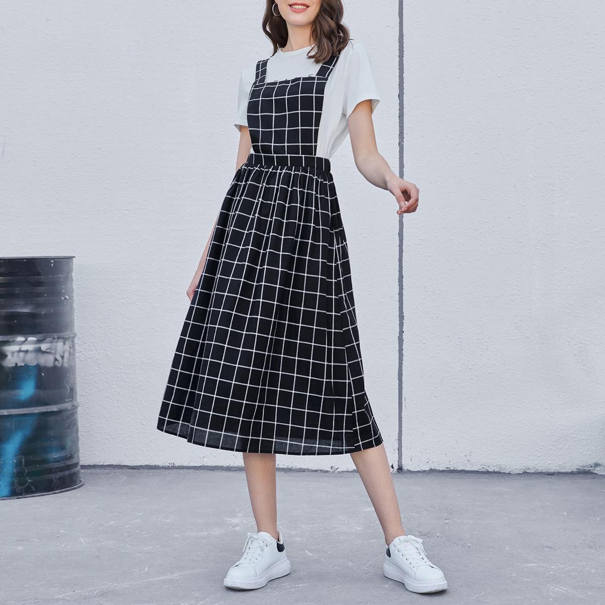 Платье-сарафан в клетку с эластичной талией