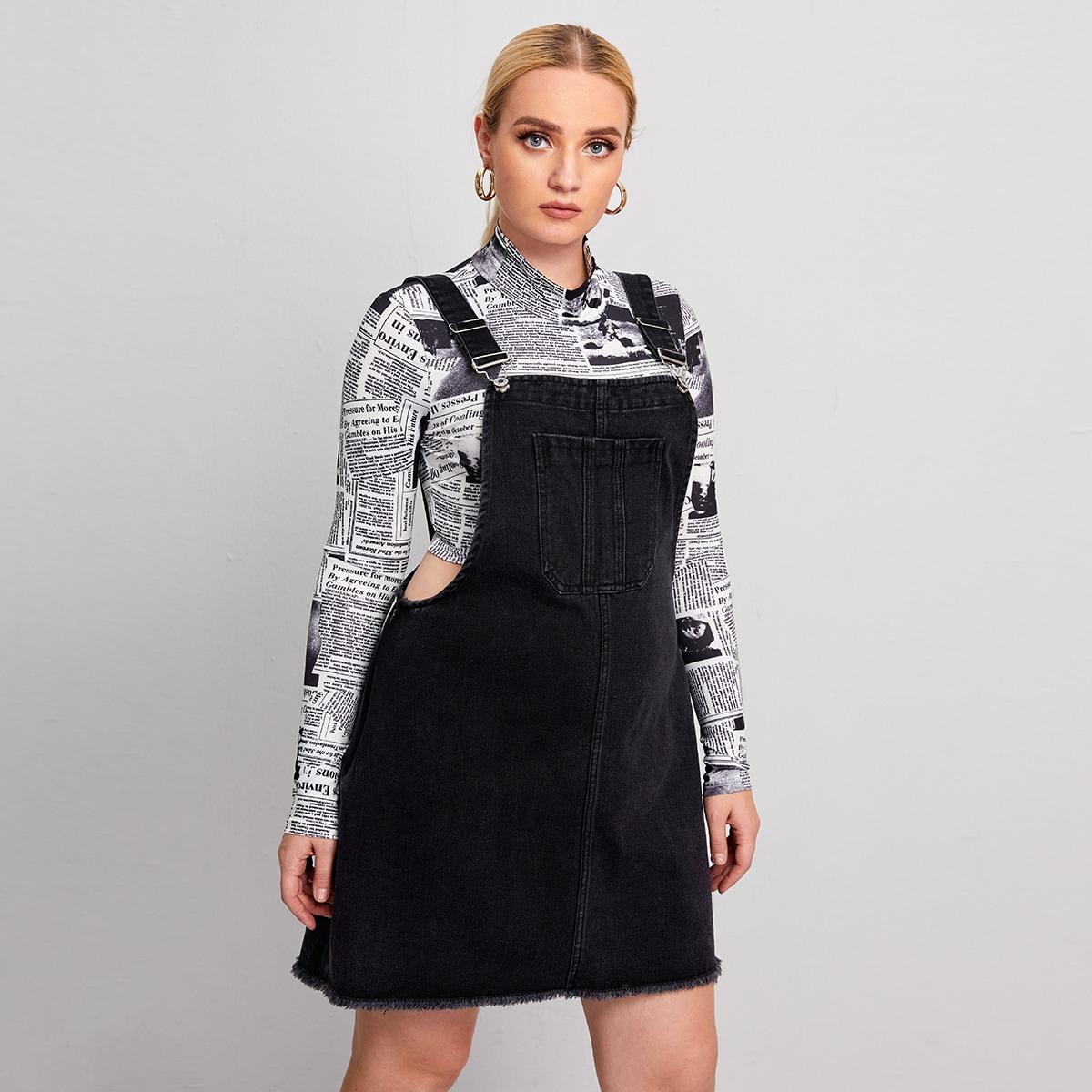 Платье размера плюс с карманом