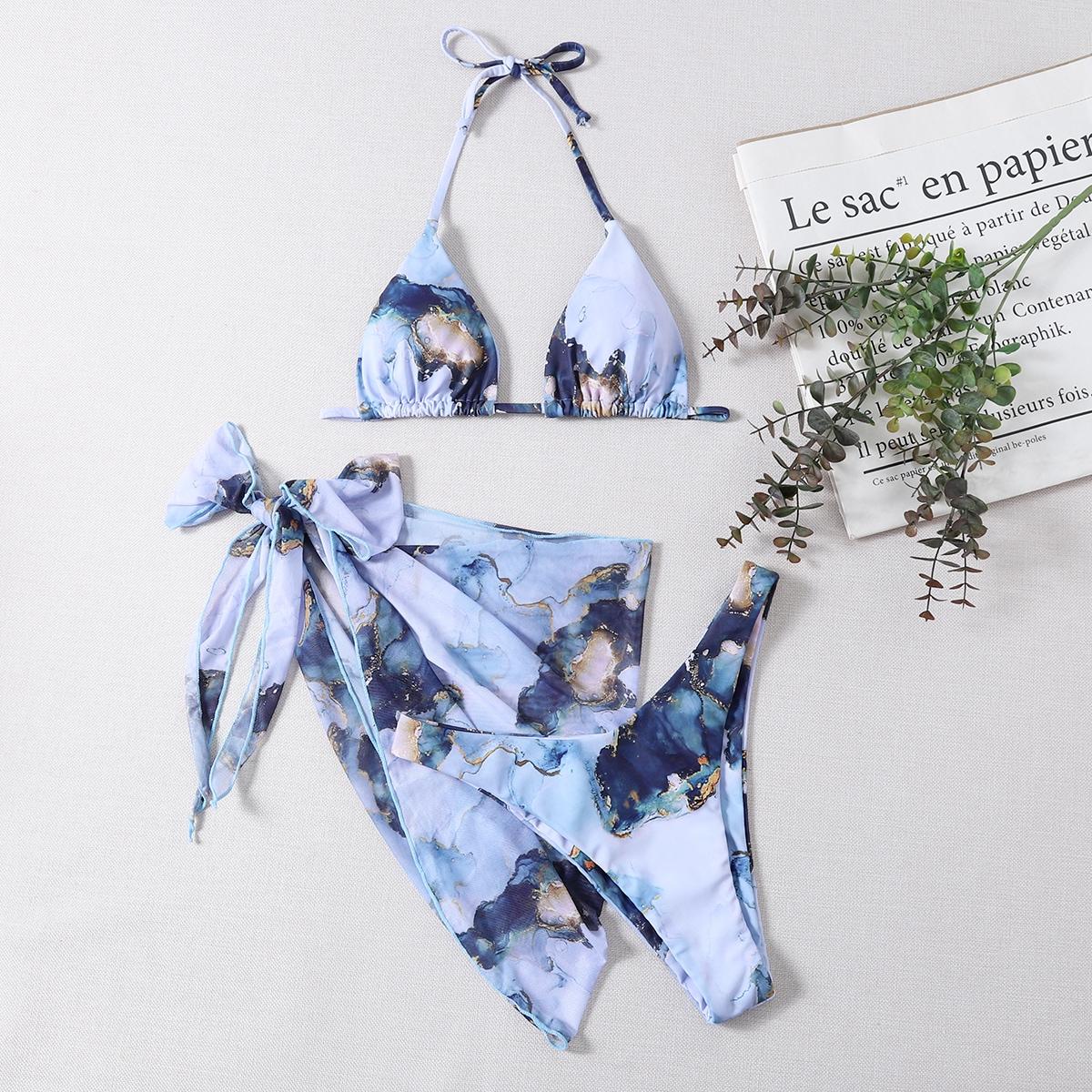3 пакета бикини и пляжная юбка с мраморным принтом