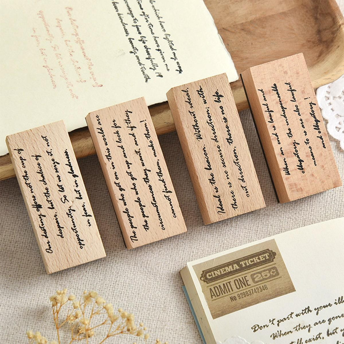 1 pezzo timbro di legno vintage casuale grafico con slogan
