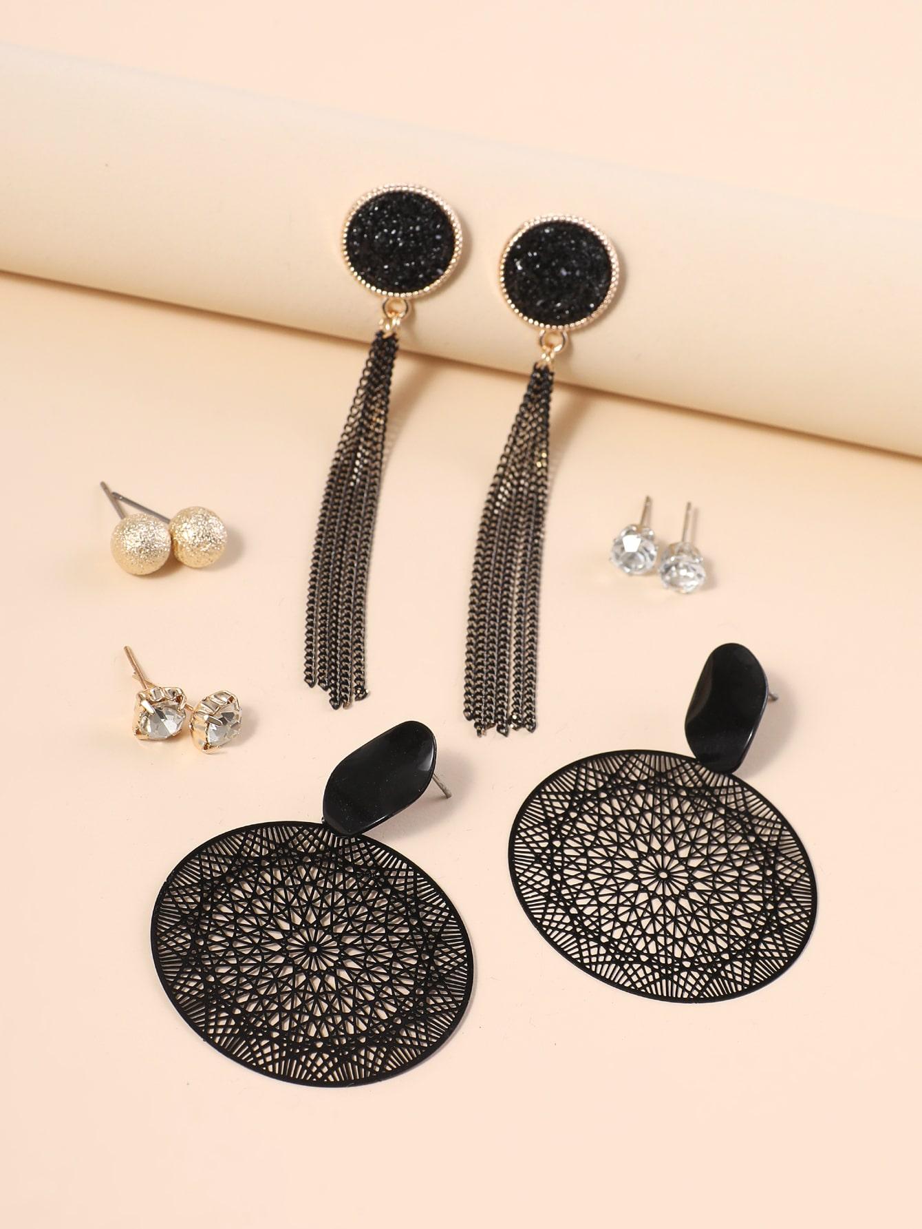 5pairs Rhinestone Detail Metal Tassel Drop Earrings thumbnail