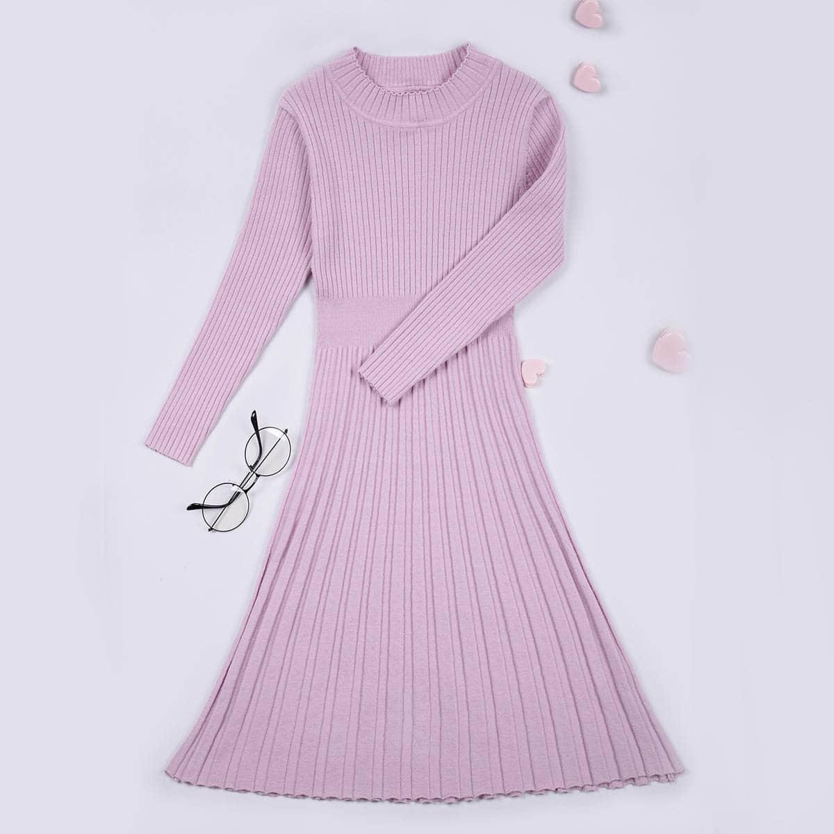 Платье-свитер с воротником-стойкой для девочек